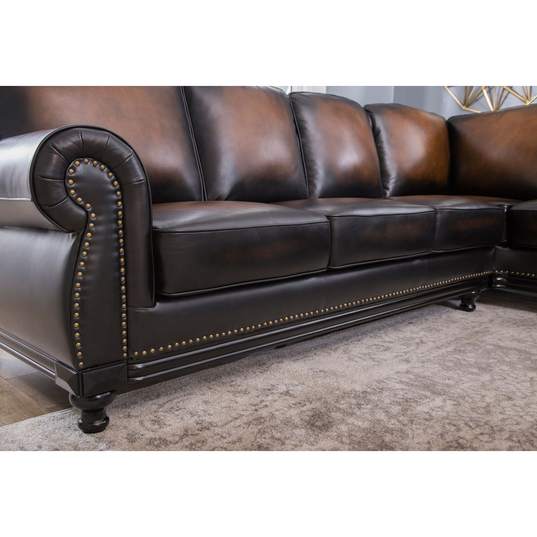 Venezia Top Grain Leather Sectional and Ottoman Living Room Set
