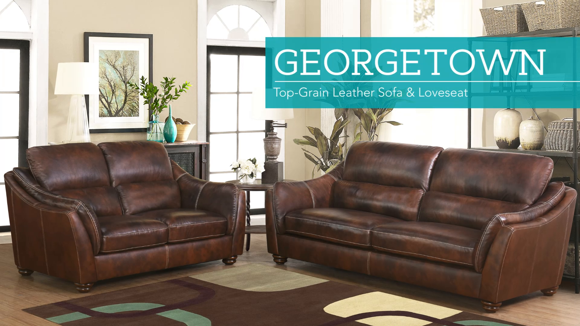 Geor own 2 piece Top Grain Leather Set Sofa and Loveseat