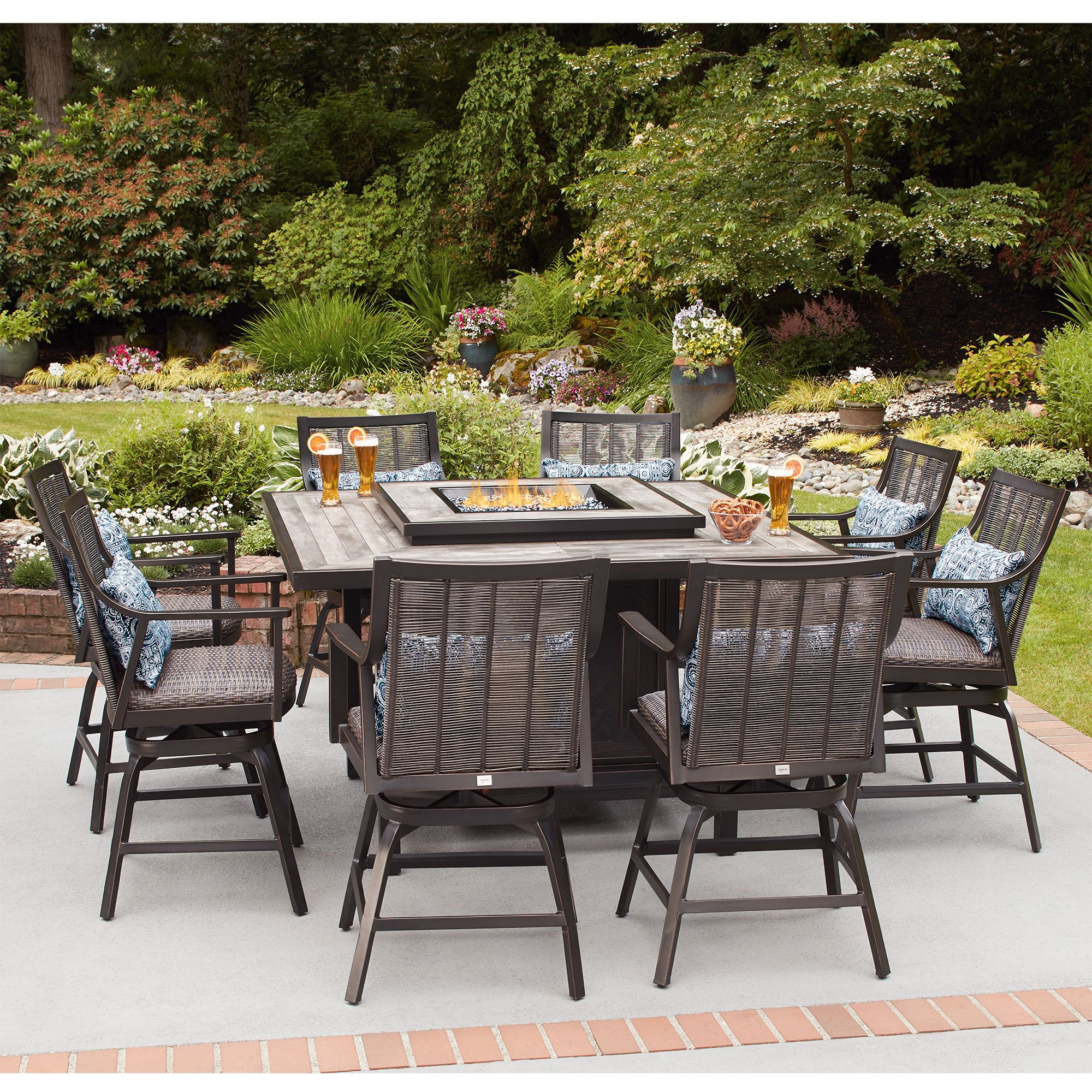Then It S Time To Add Agio Paris High Dining Fire Pit Set Your Outdoor E This Elegant Features