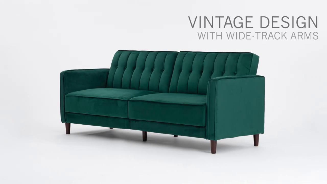 Dhp Pin Tufted Transitional Sofa Bed In Velvet Multiple