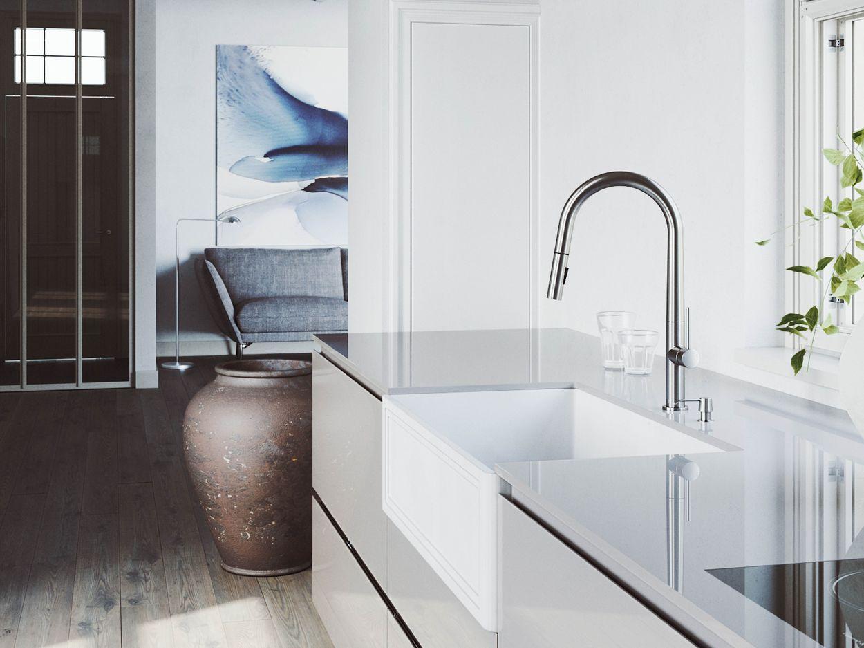 Vigo Laurelton Pull Down Spray Kitchen Faucet In Matte Black vigo greenwich chrome 1-handle deck mount pull-down kitchen