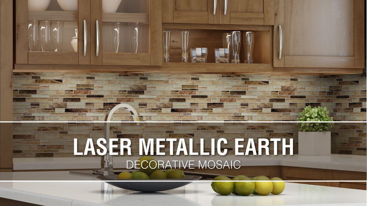 - Elida Ceramica Laser Metallic Earth 12-in X 12-in Glossy Glass