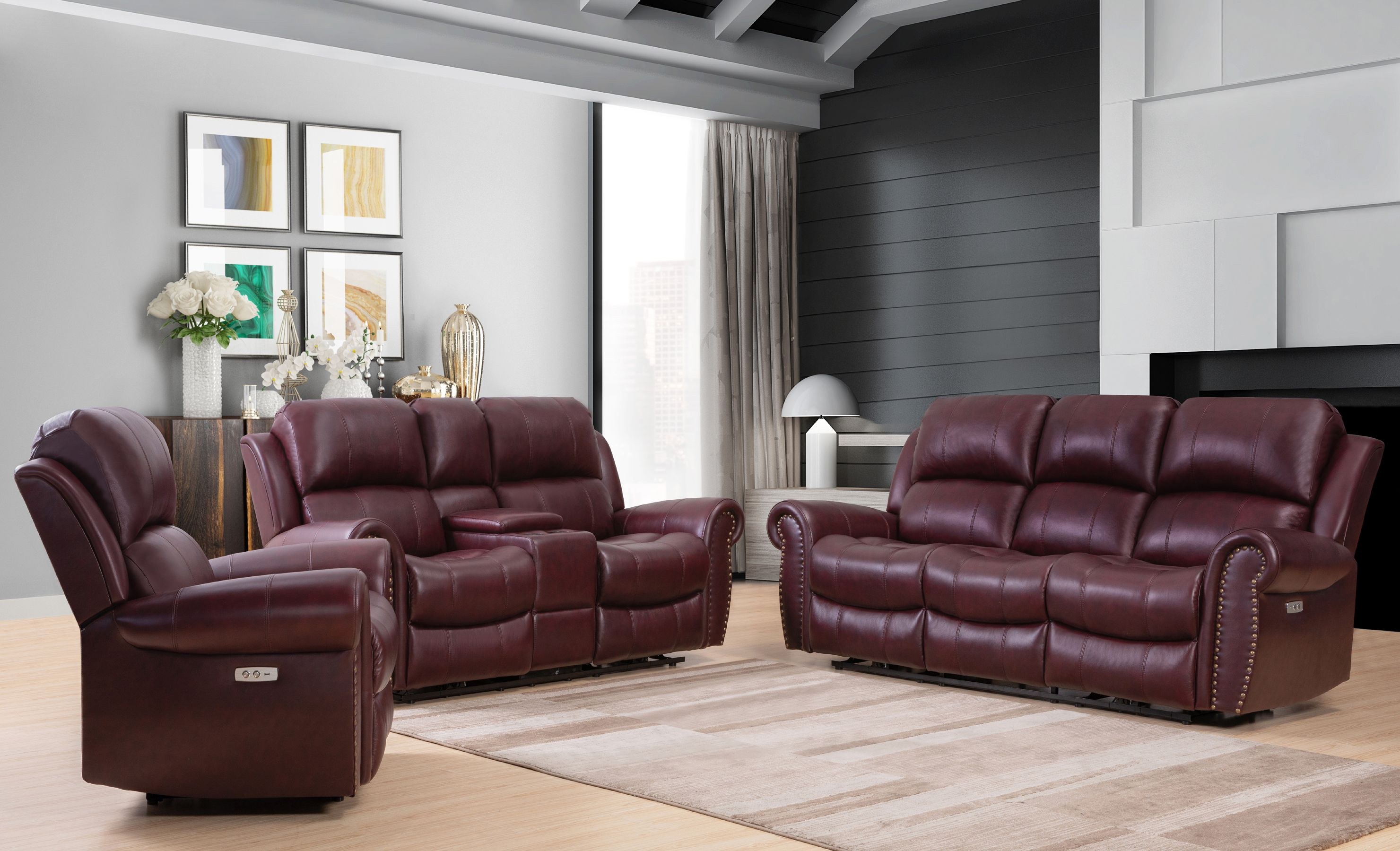 Where classic style meets modern functionality the garris 3 piece top grain leather power reclining set will add comfortable seating and easy power