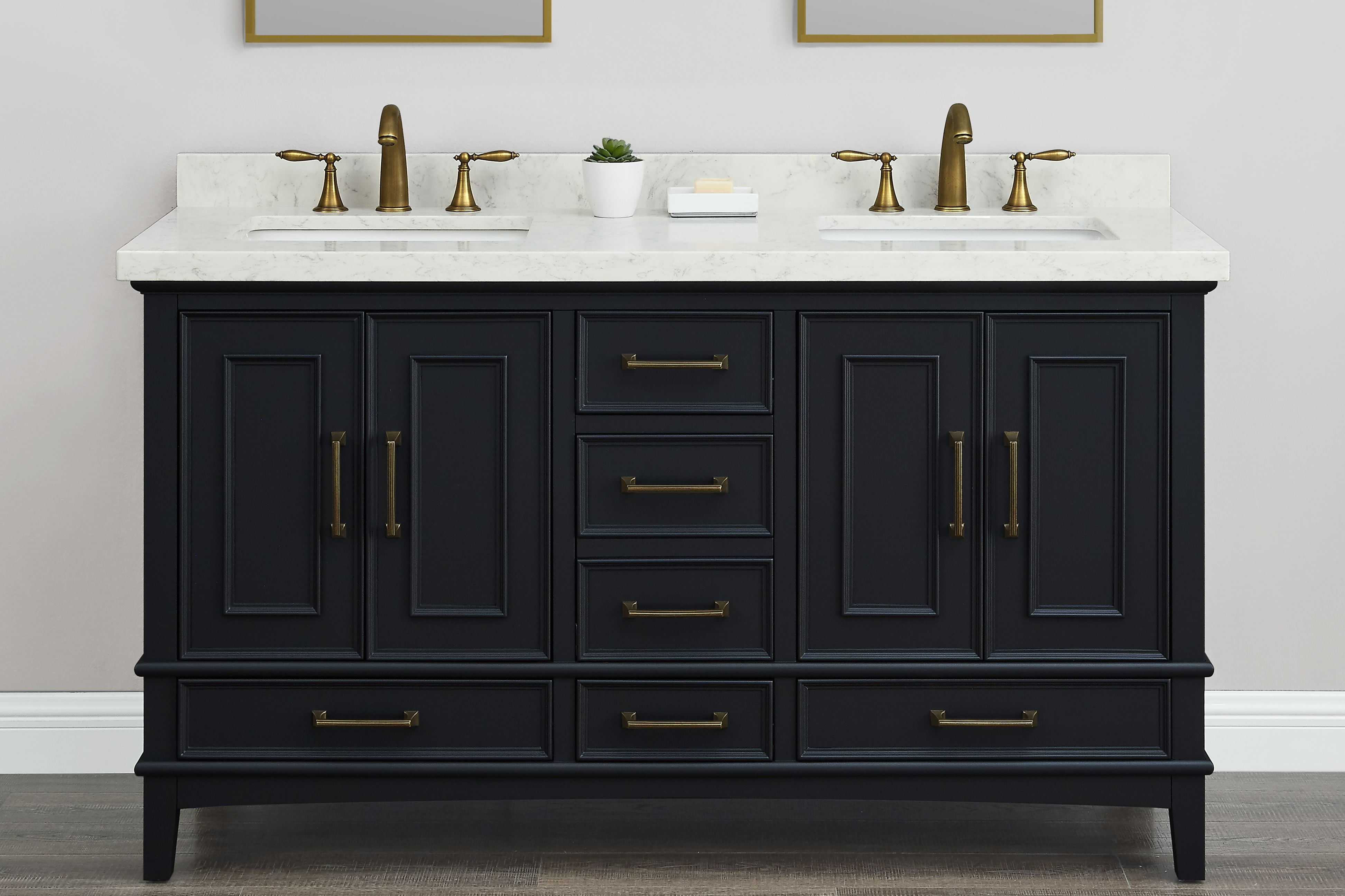 Parker Midnight 60 Inch Double Sink Vanity