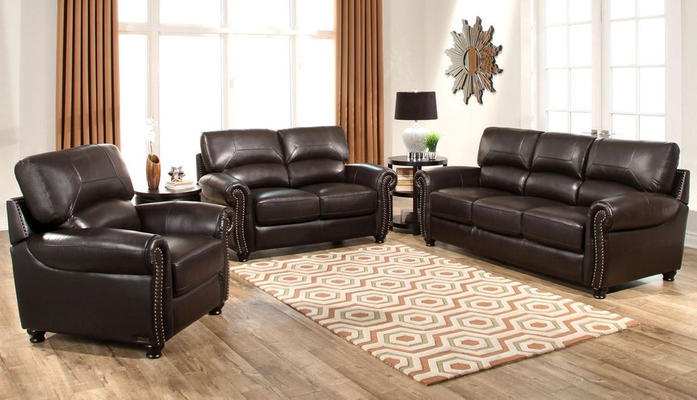 Tuscany 3-piece Top Grain Leather Living Room Set