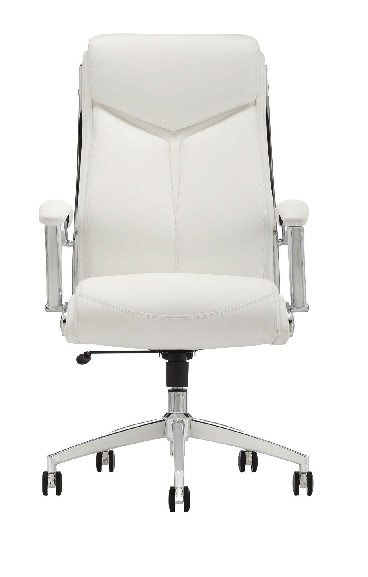 Realspace Verismo Bonded Leather Executive High Back Chair White Chrome Item 747417