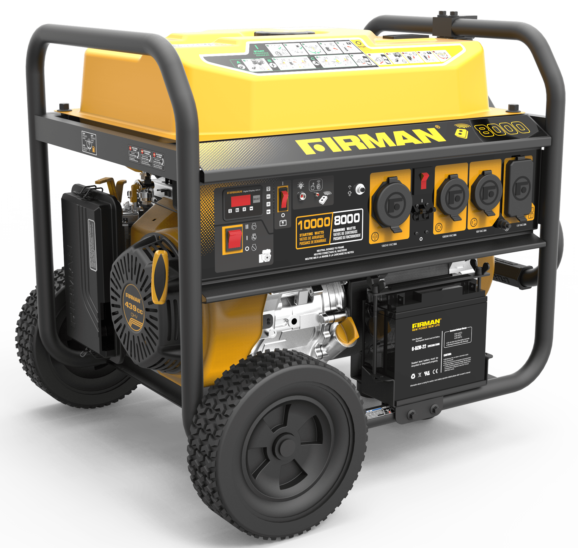 Firman P08004 10,000W Gas Powered Portable Generator with remote