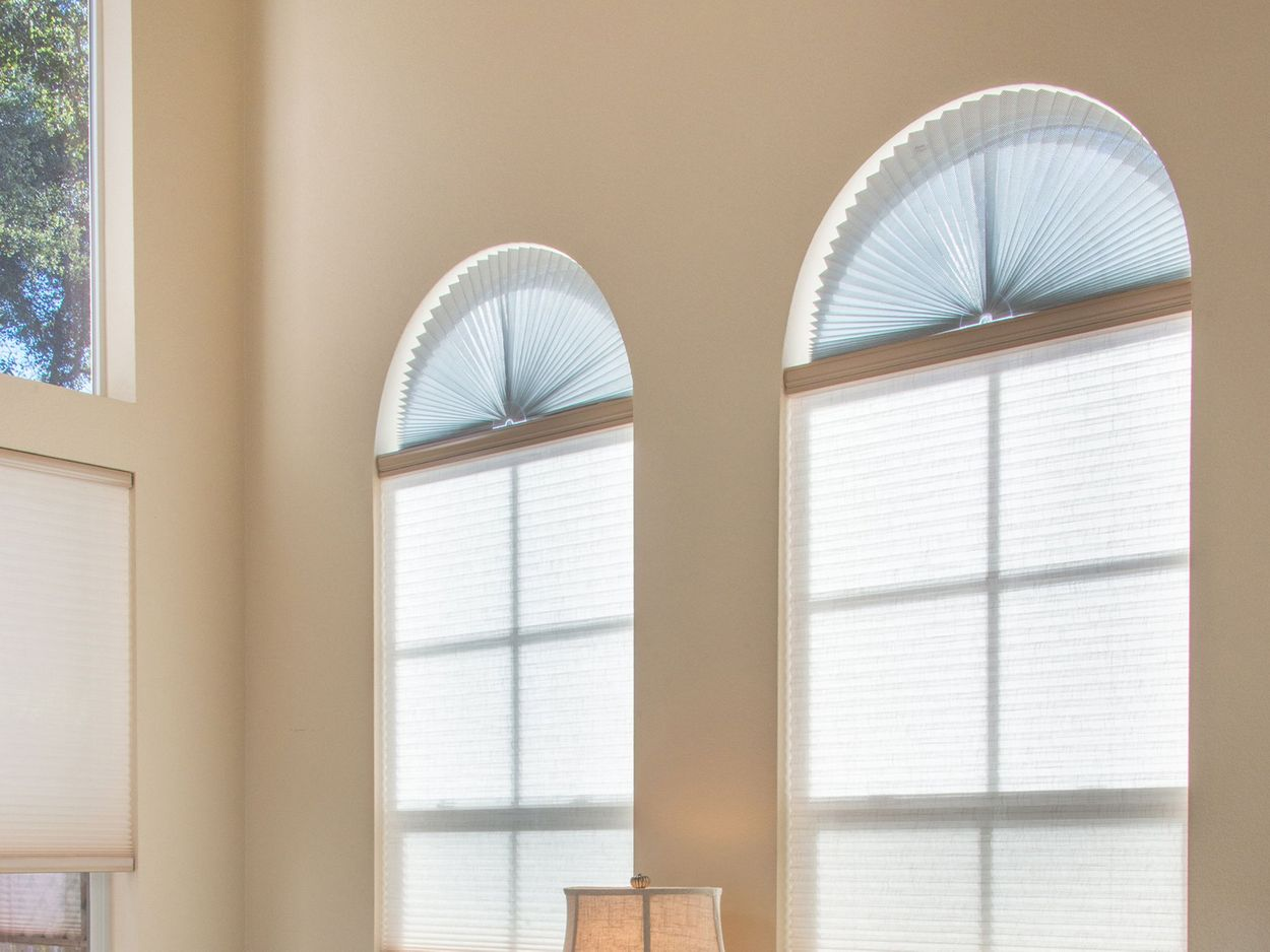 """Zipcase Arch Light Filtering Fabric Shade Pack of 2 fit for Perfect Half-Round Arch Windows No Tools Installation Grey 72/"""" x 36/"""""""