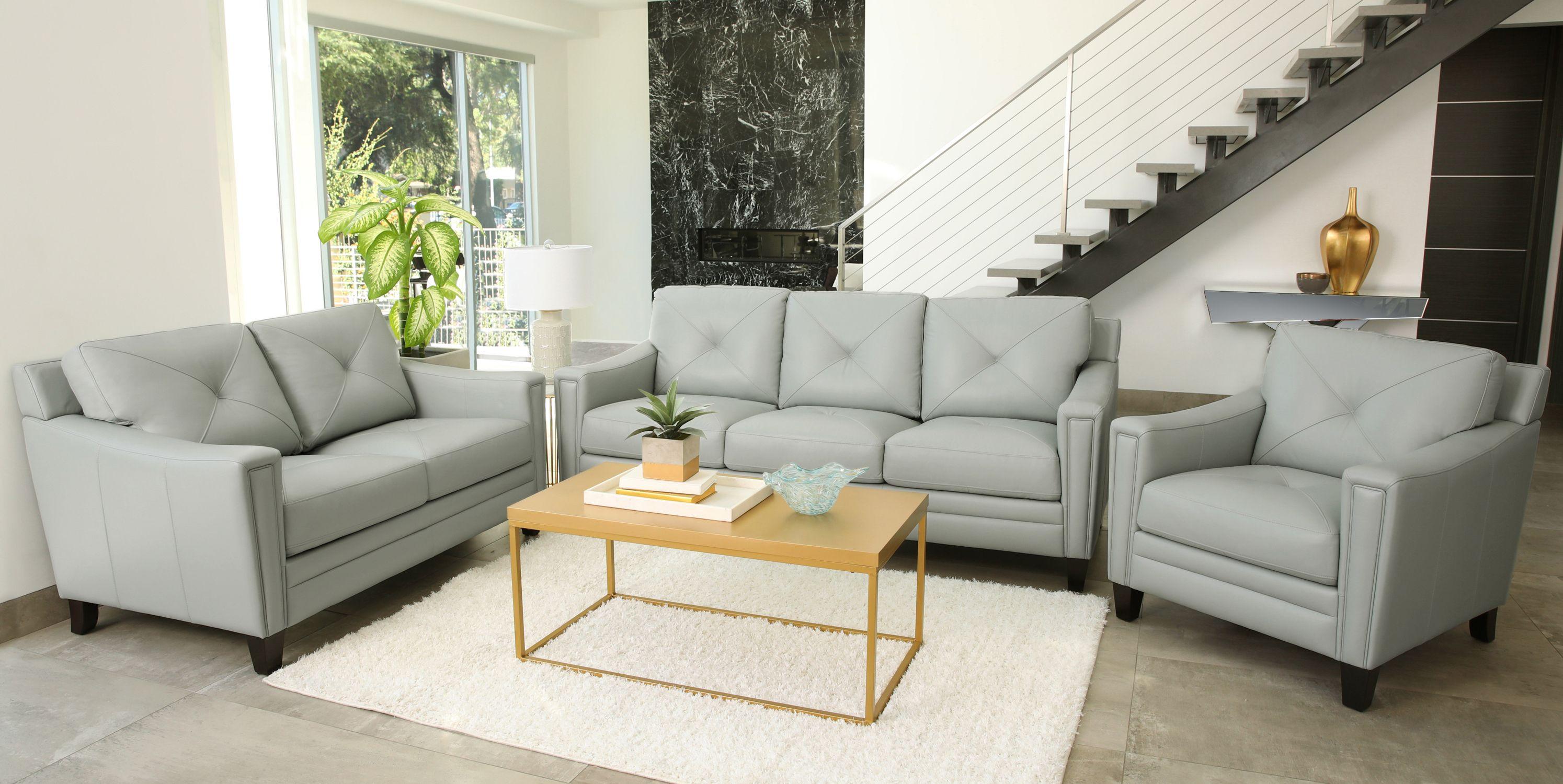 Fantastic Atmore 3 Piece Top Grain Leather Set Sofa Loveseat Chair Interior Design Ideas Skatsoteloinfo