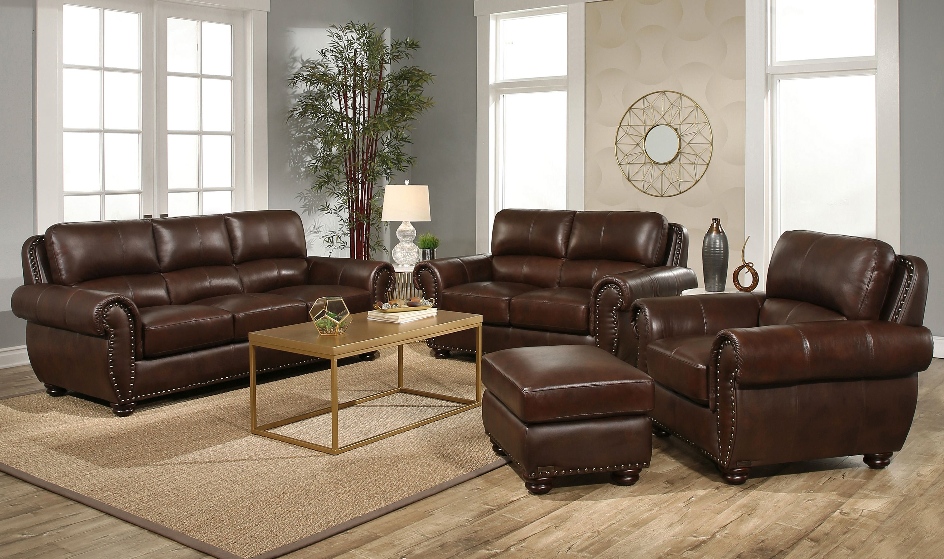 Austin 4 Piece Top Grain Leather Living Room Set