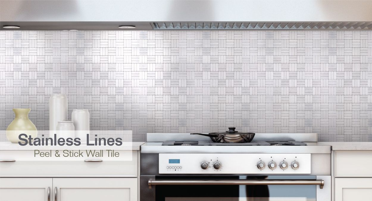 - Peel&Stick Mosaics Peel And Stick Stainless Lines 12-in X 12-in