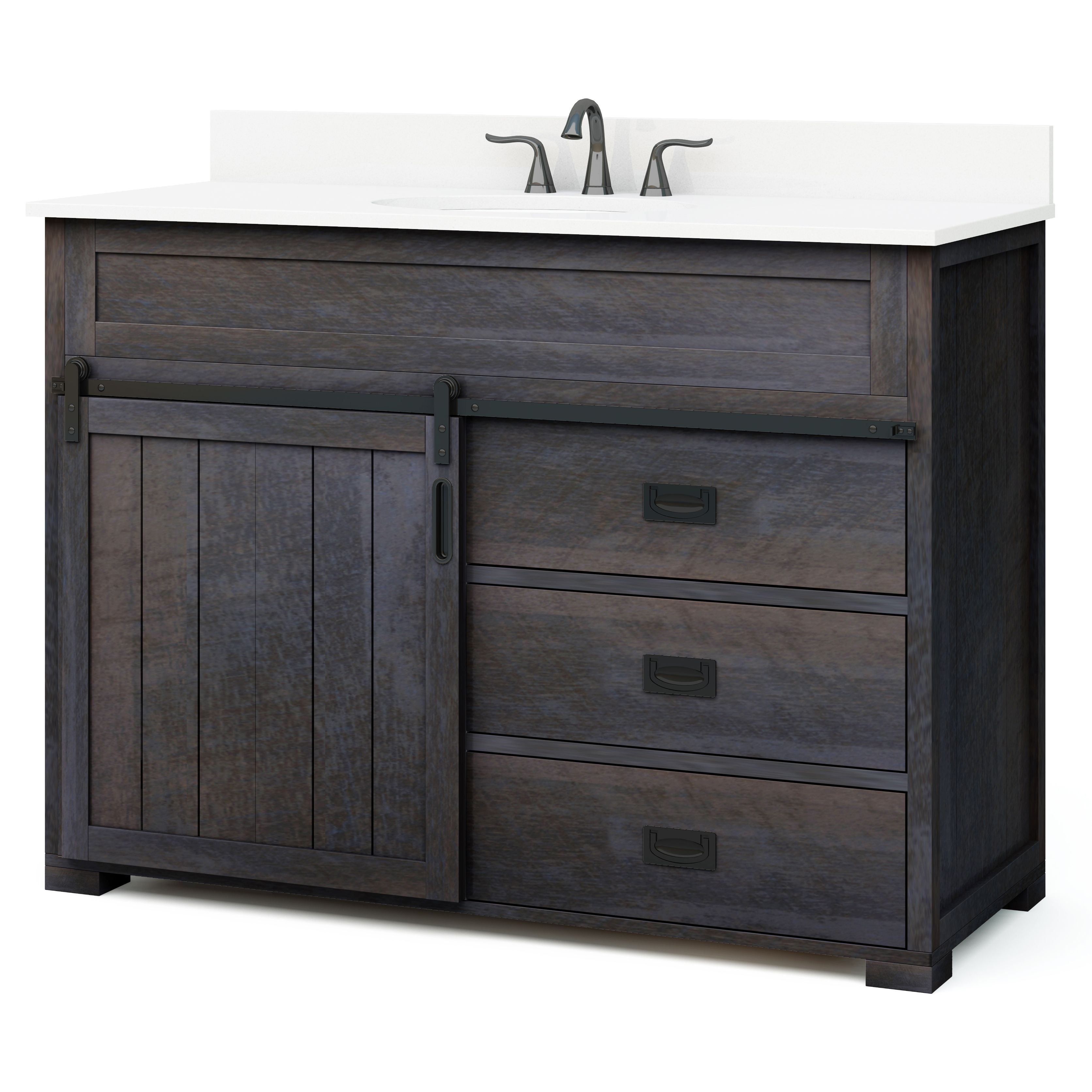 Style Selections Morriston 48 In Distressed Java Single Sink Bathroom Vanity With White Engineered Stone Top