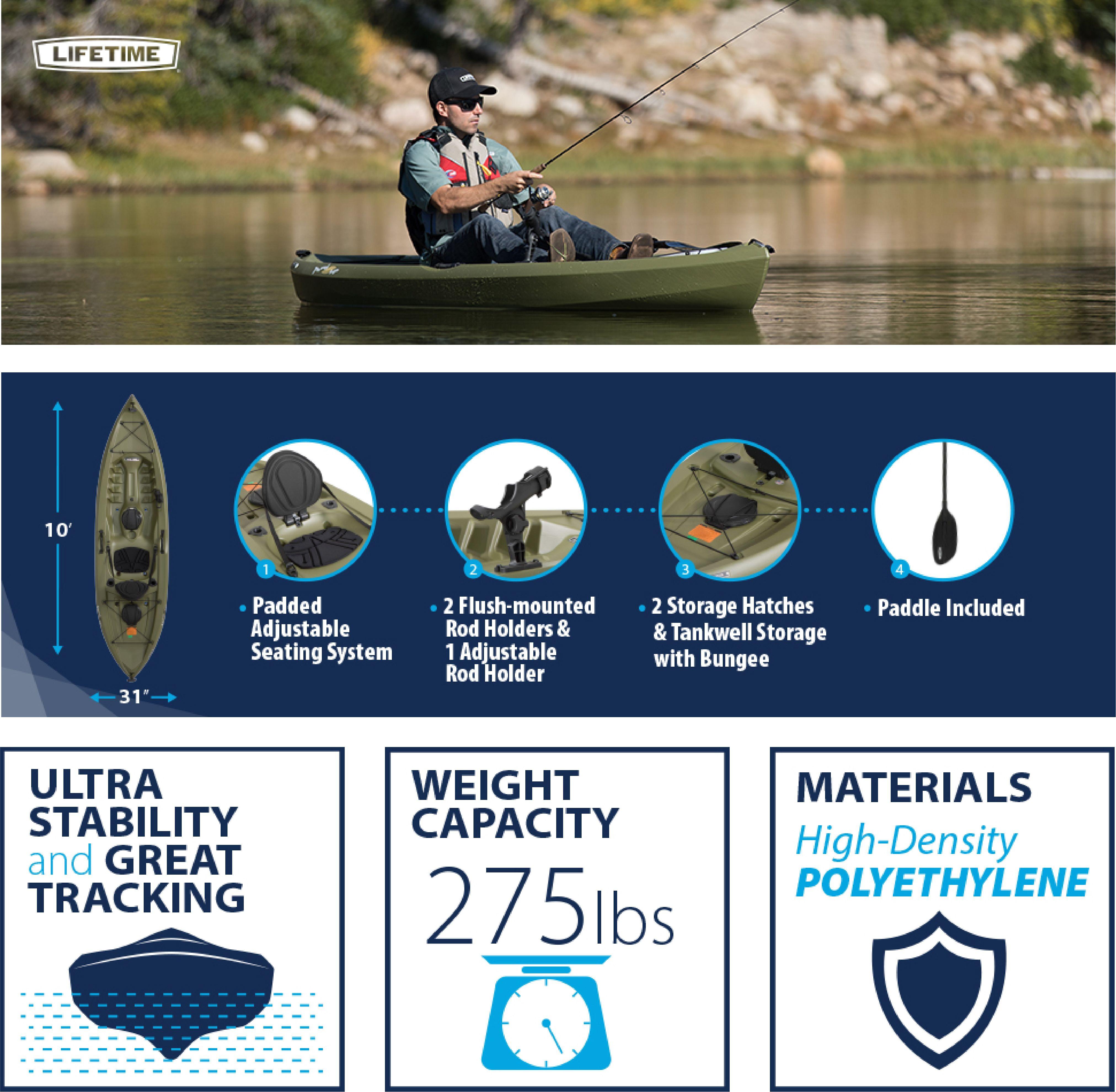 Lifetime Tamarack Angler 100 Fishing Kayak (Paddle Included), 90818
