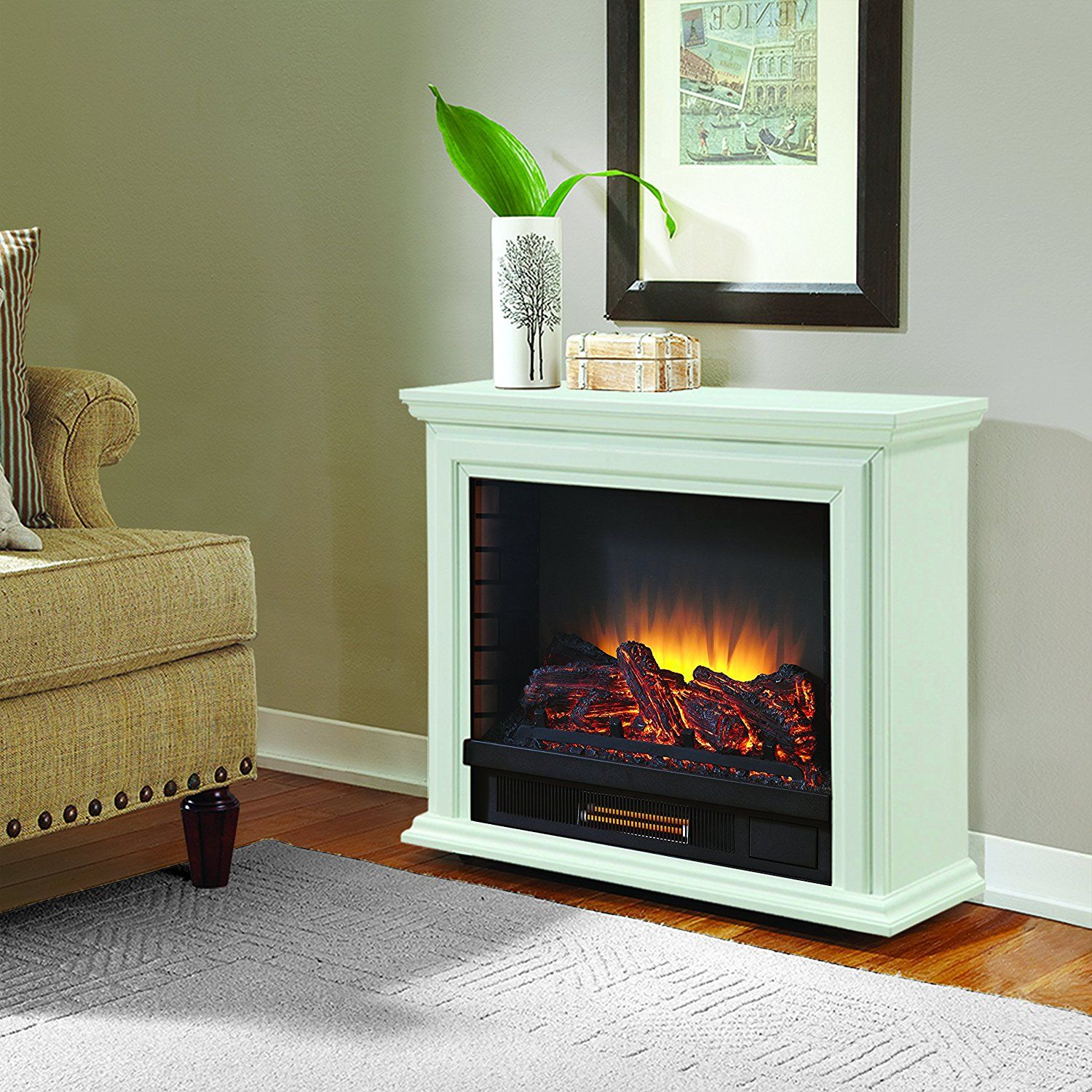 pleasant hearth 31 75 in w white infrared quartz electric fireplace rh lowes com