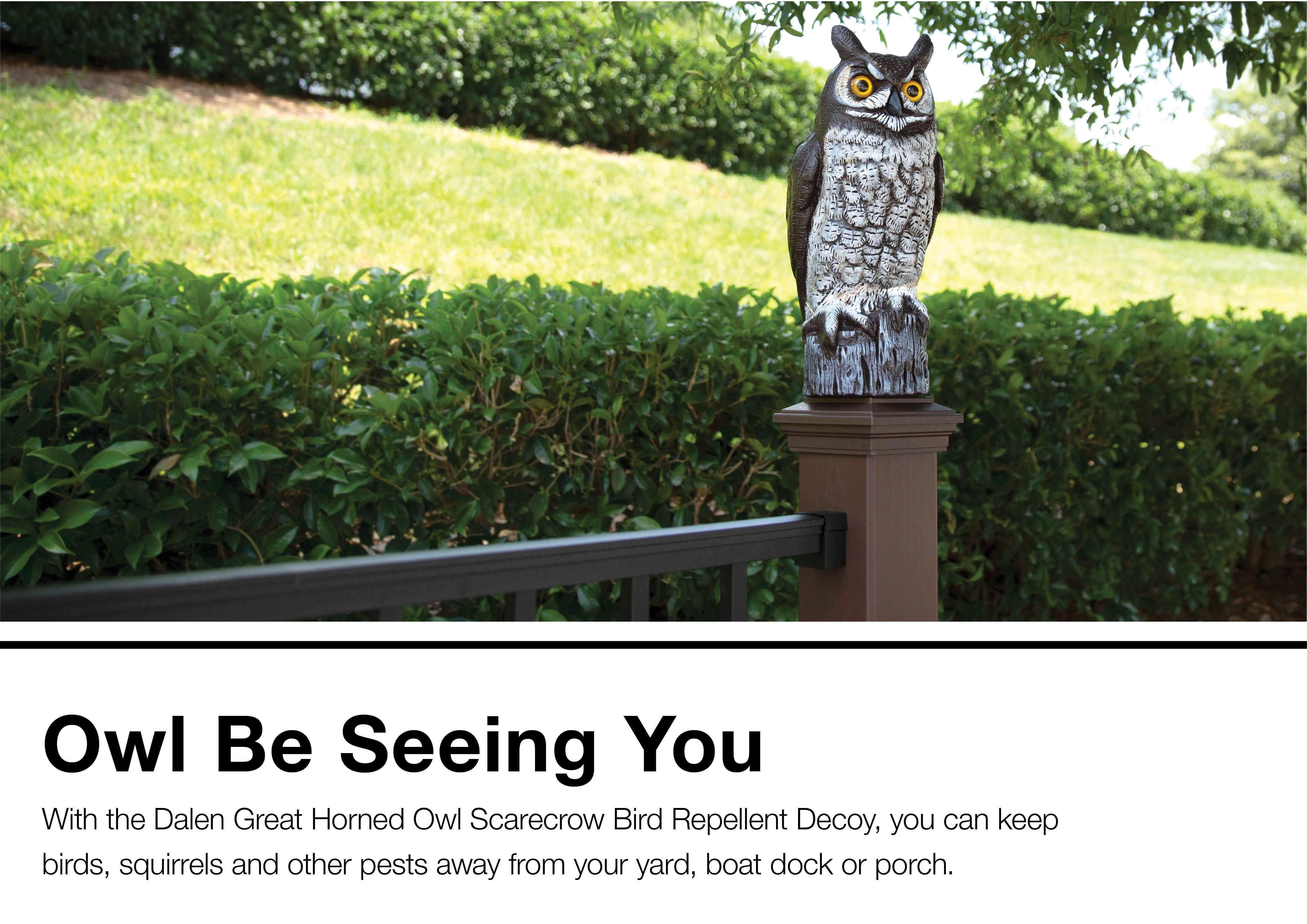 Dalen Great Horned Owl Scarecrow Bird Repellent Decoy at