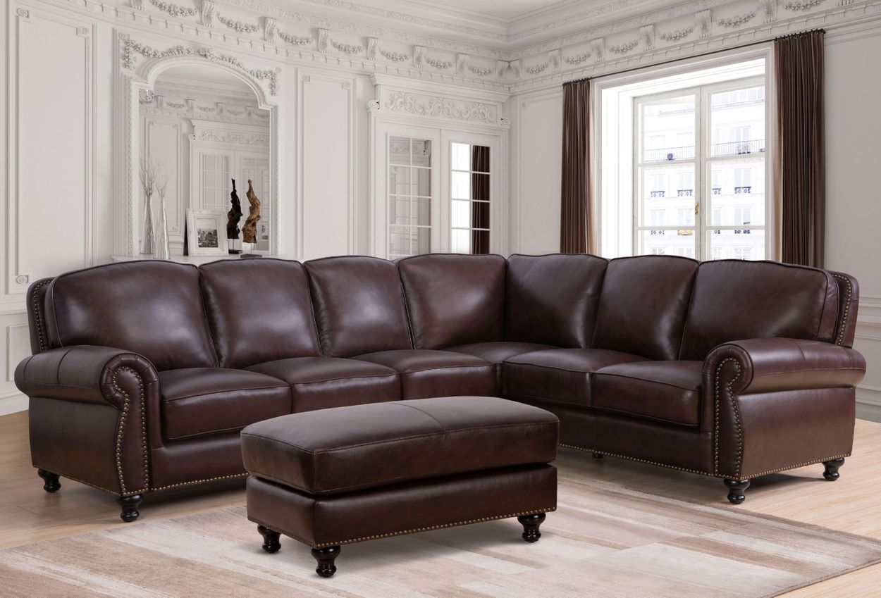 Super Mortara Top Grain Leather Sectional And Ottoman Ibusinesslaw Wood Chair Design Ideas Ibusinesslaworg