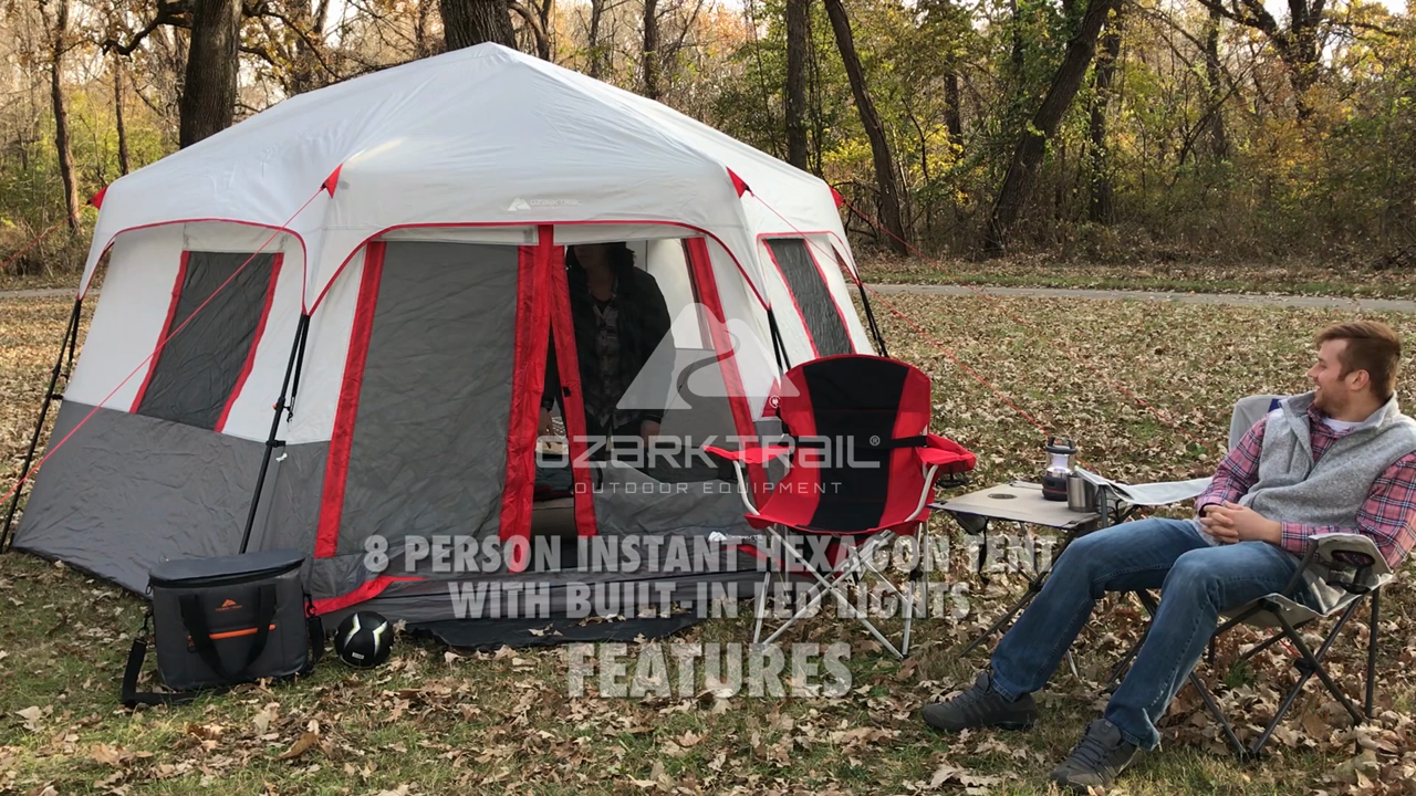 OZARK TRAIL 8 PERSON INSTANT HEXAGON CABIN TENT WITH LIGHT Sporting