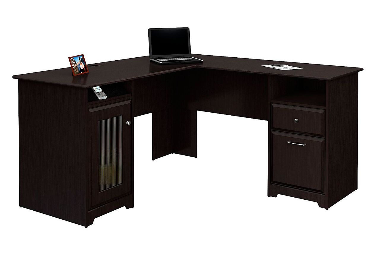 Bush Furniture Cabot L Shaped Desk Espresso Oak Standard Delivery Item 1542916