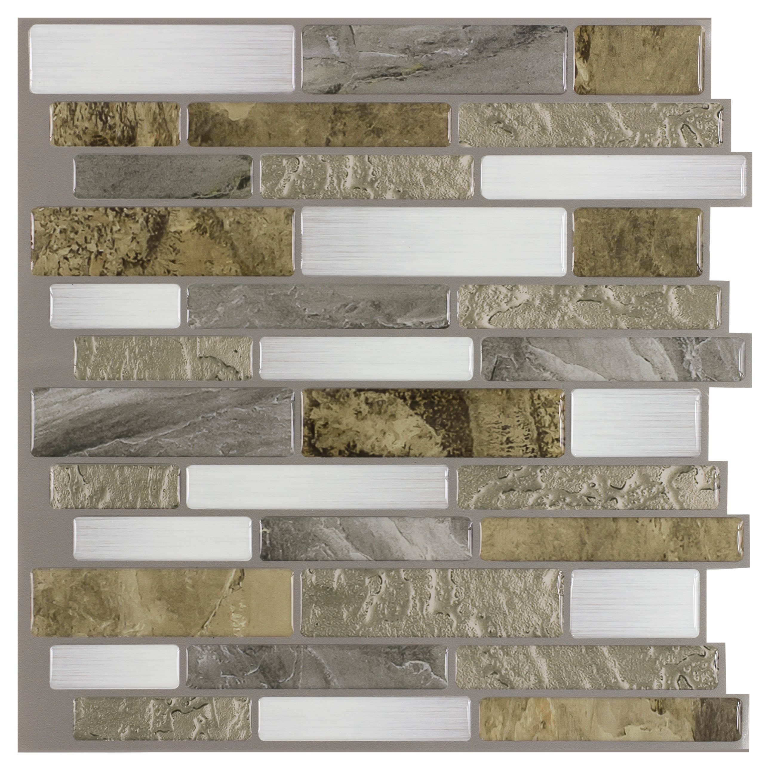 - Peel&Stick Mosaics Peel And Stick Mountain Terrain 10-in X 10-in Glossy  Composite Linear Mosaic Tile In The Tile Department At Lowes.com
