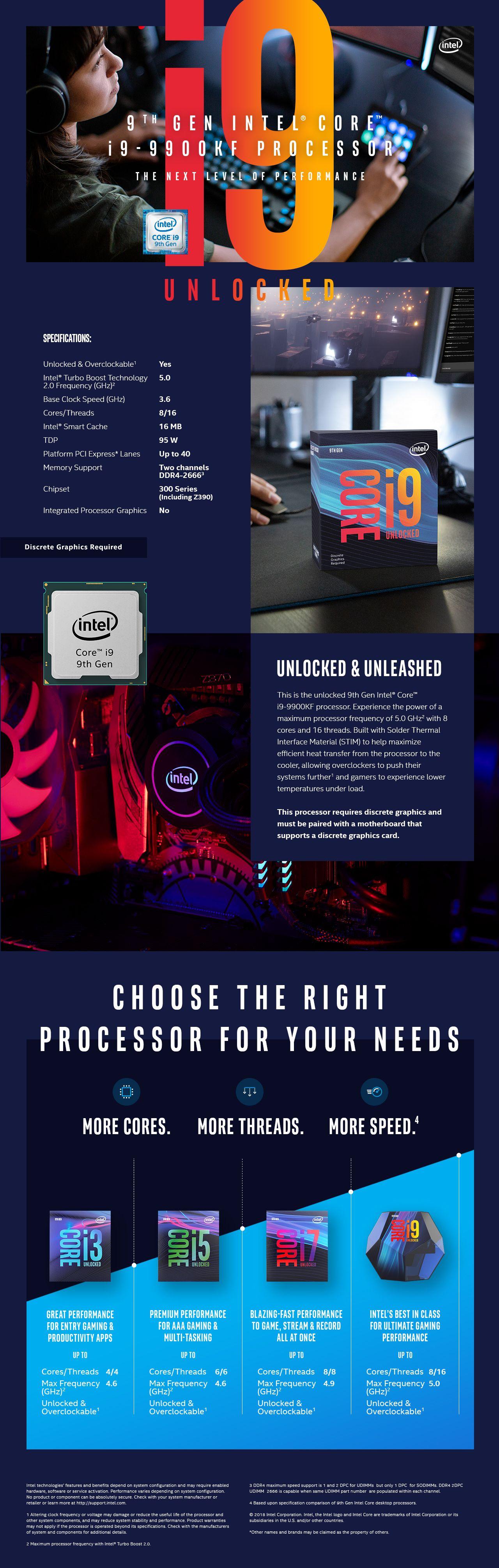 Intel Core i9-9900KF Coffee Lake 8-Core, 16-Thread, 3 6 GHz (5 0 GHz Turbo)  LGA 1151 (300 Series) 95W BX80684I99900KF Desktop Processor Without