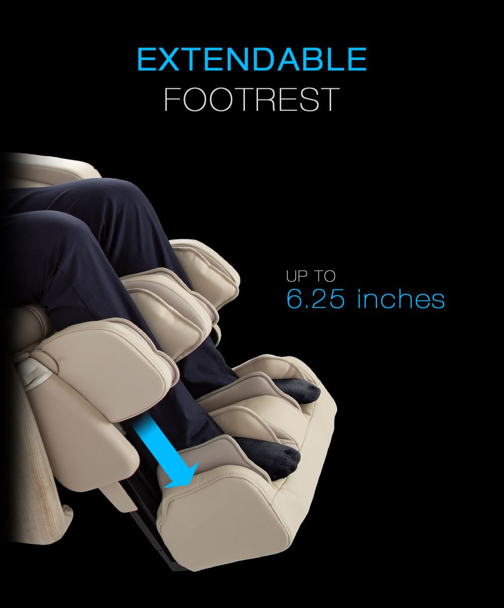 Extendable footrest. Up to 6.25 inches