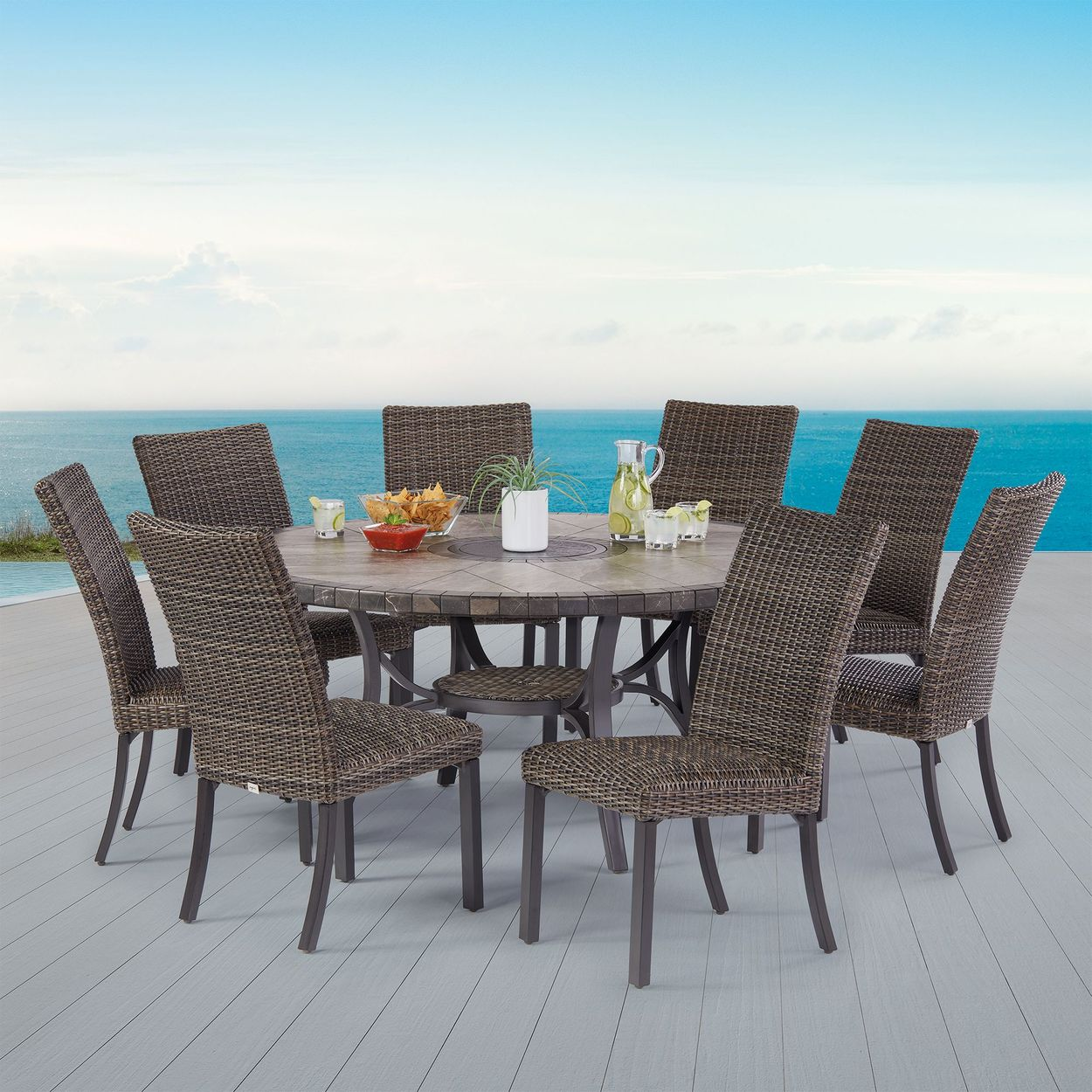 Agio 9 Piece Springdale Woven Dining Set