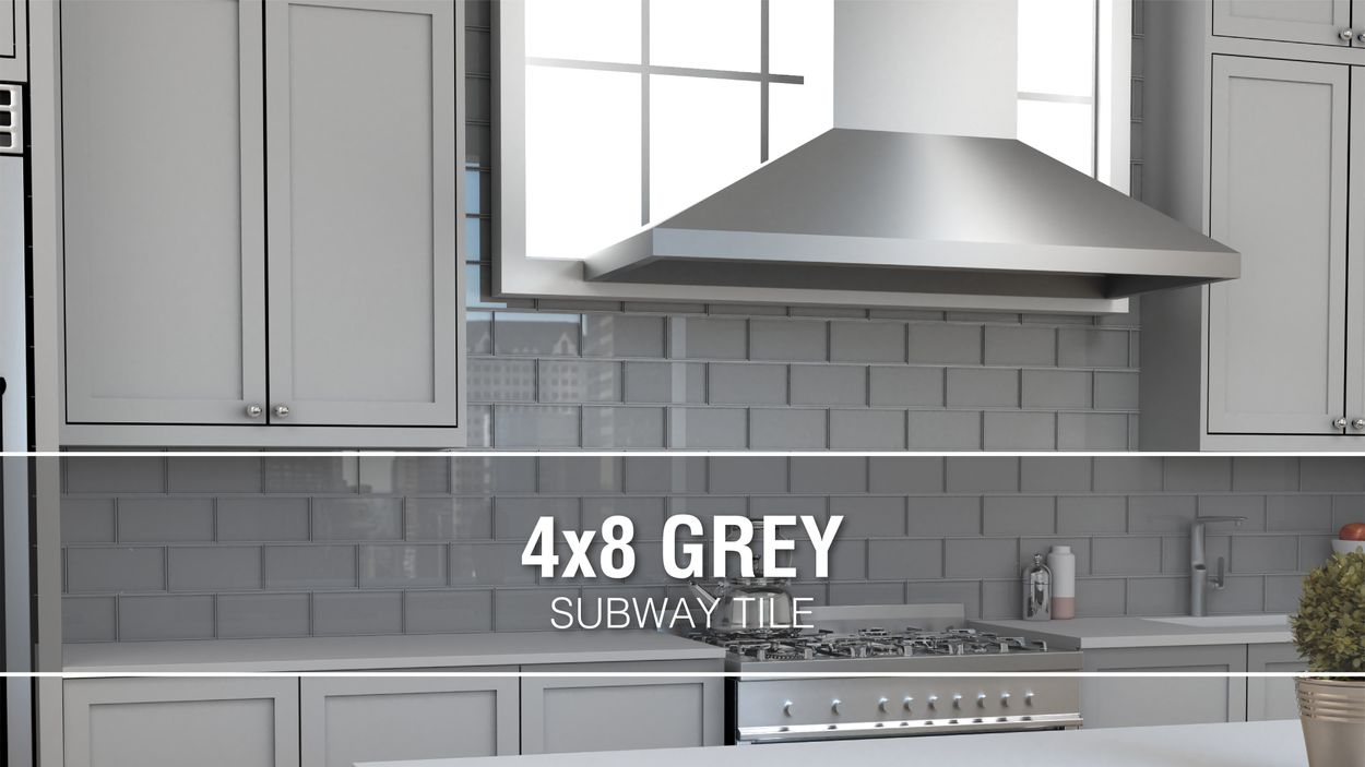 - Elida Ceramica 4x8 Grey Glass 4-in X 8-in Glossy Glass Subway Wall