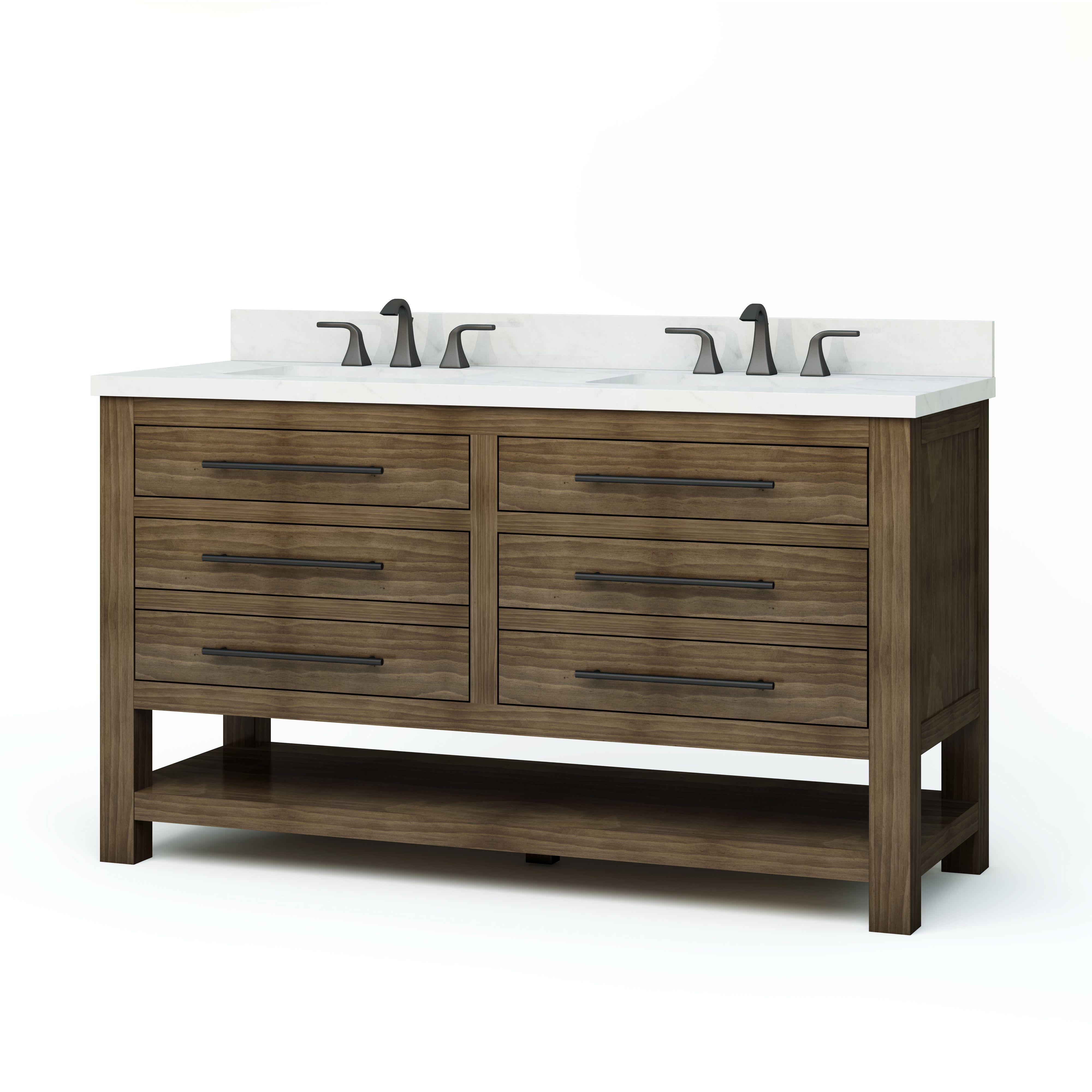 . Allen   roth Kennilton 60 in Gray Oak Double Sink Bathroom Vanity