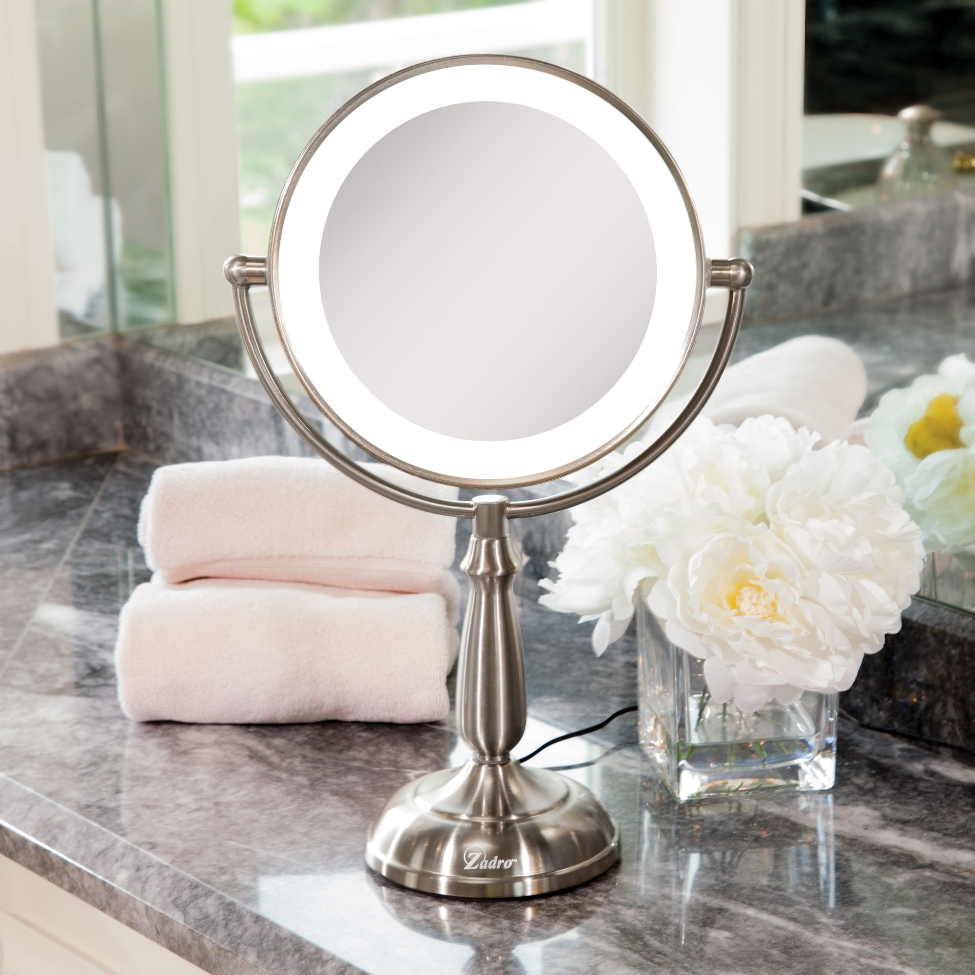 "fae37148c748 Zadro 9"" Dual-Sided LED Lighted Touch Vanity Mirror with 10x /1x  Magnification"