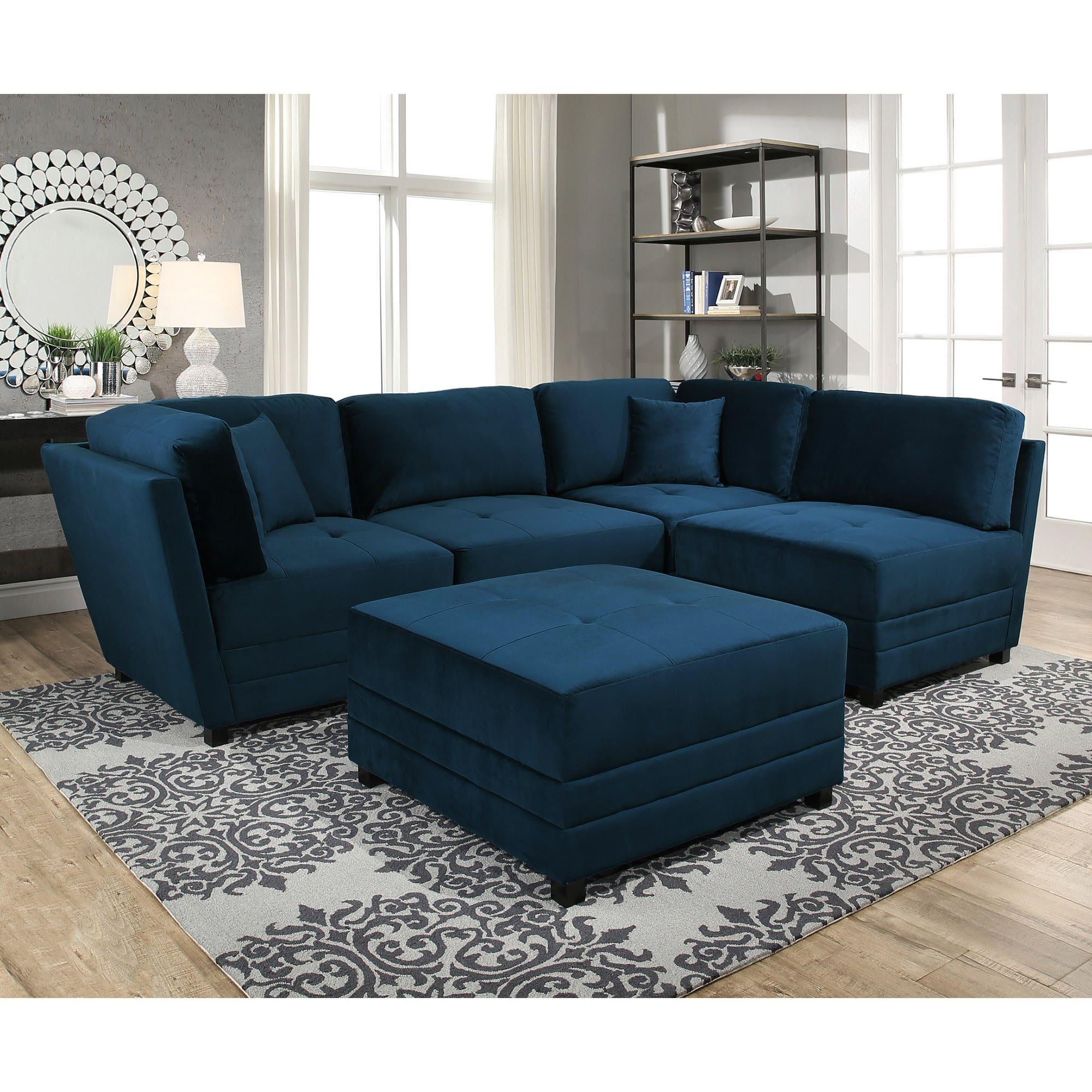 Leyla 5-piece Fabric Modular Sectional - Blue