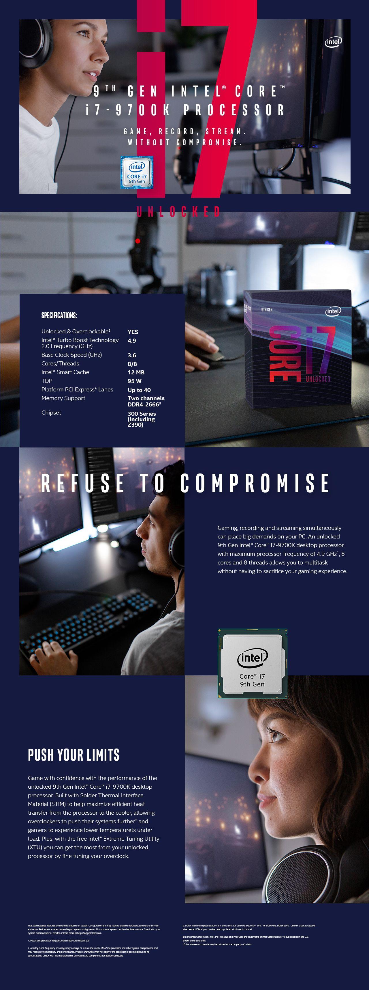 Intel Core i7-9700K Coffee Lake 8-Core 3 6 GHz (4 9 GHz Turbo) LGA 1151  (300 Series) 95W BX80684I79700K Desktop Processor Intel UHD Graphics 630 -