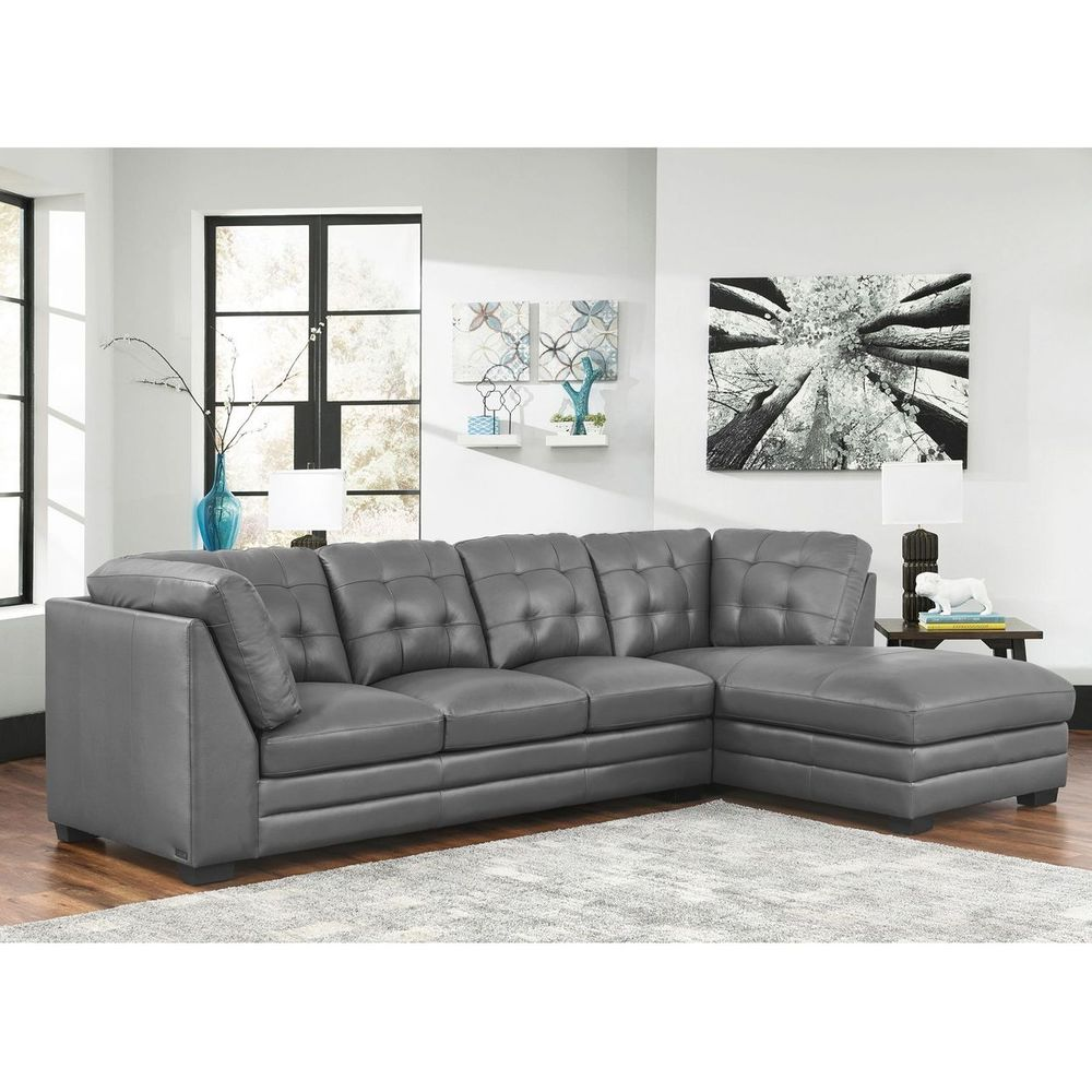 Lawrence Top Grain Leather Sectional with Ottoman Living Room Set