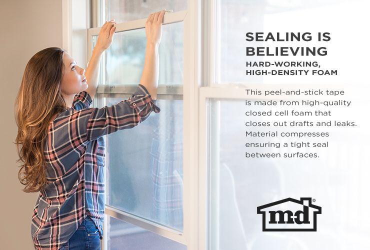 M-D 17-ft x 1/2-in Gray Window Seal Foam Window Weatherstrip at