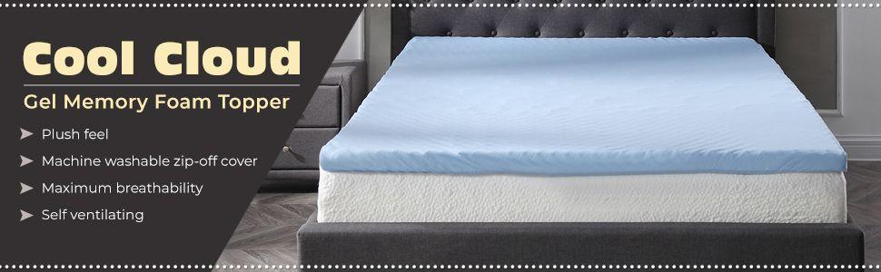 3a93915a59d2 Modern Sleep 3-Inch Gel Memory Foam Mattress Topper with Free Cover ...