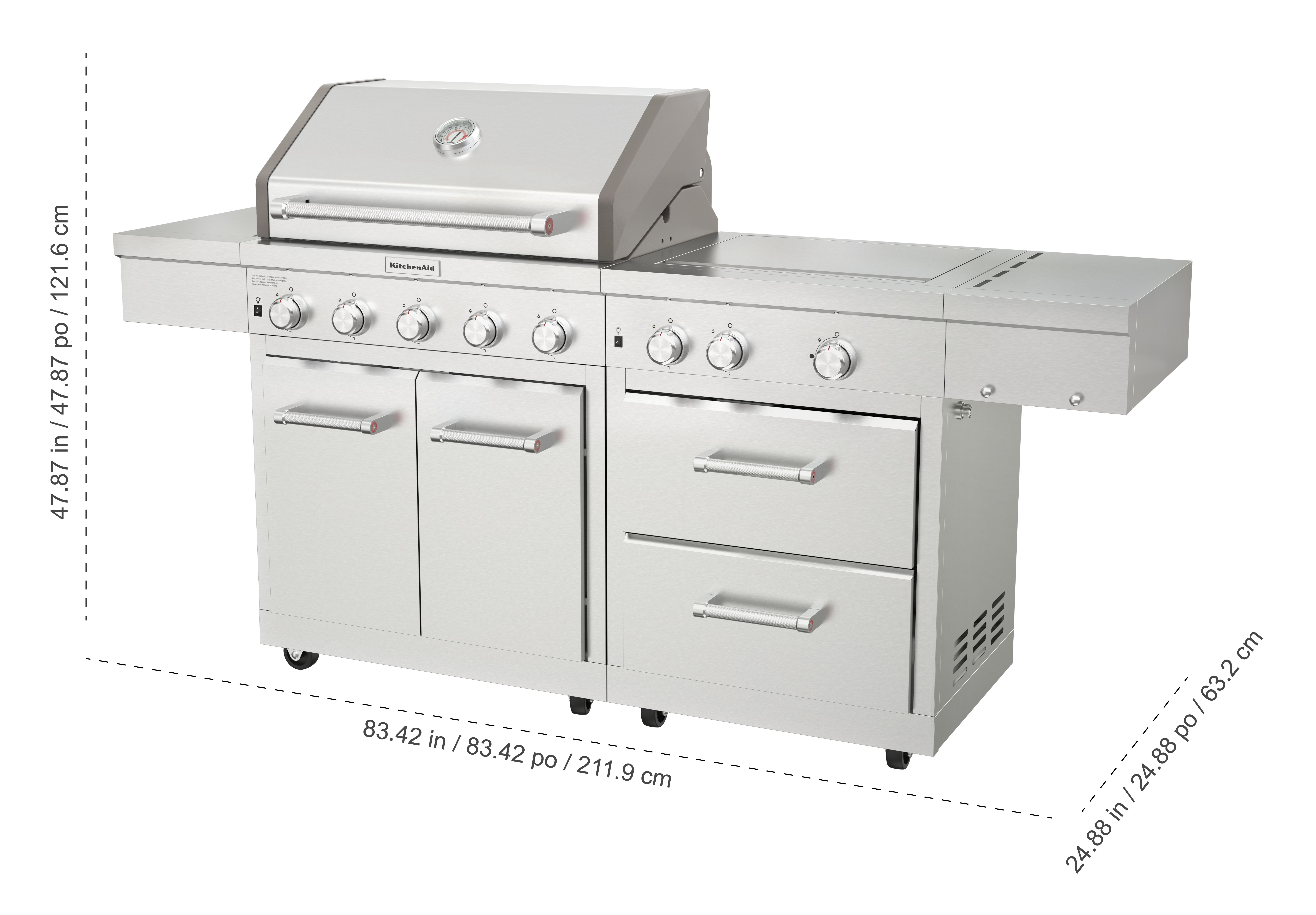 Details about KitchenAid Stainless Steel 8-Burner Grill