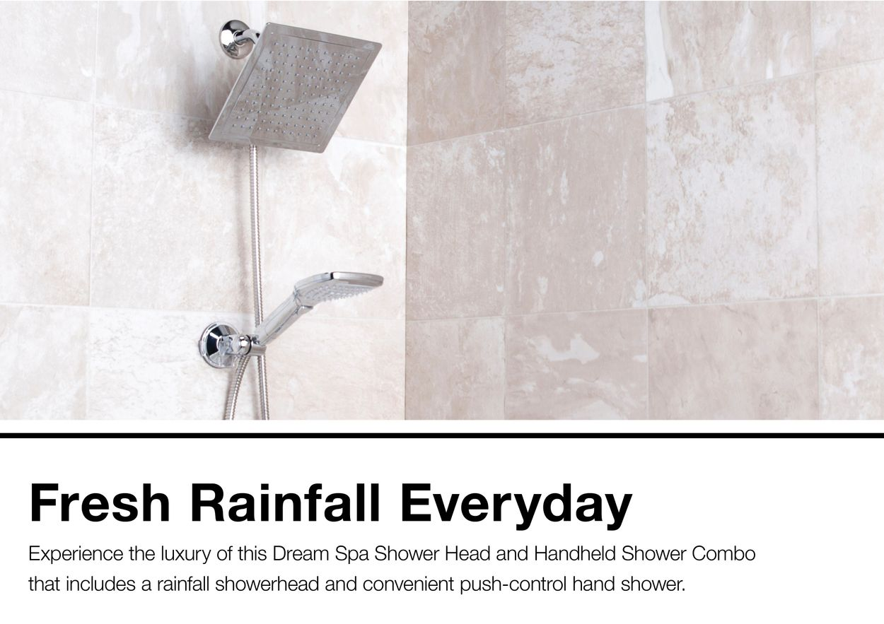 Dream Spa Chrome 4 Spray Rain Dual Shower Head