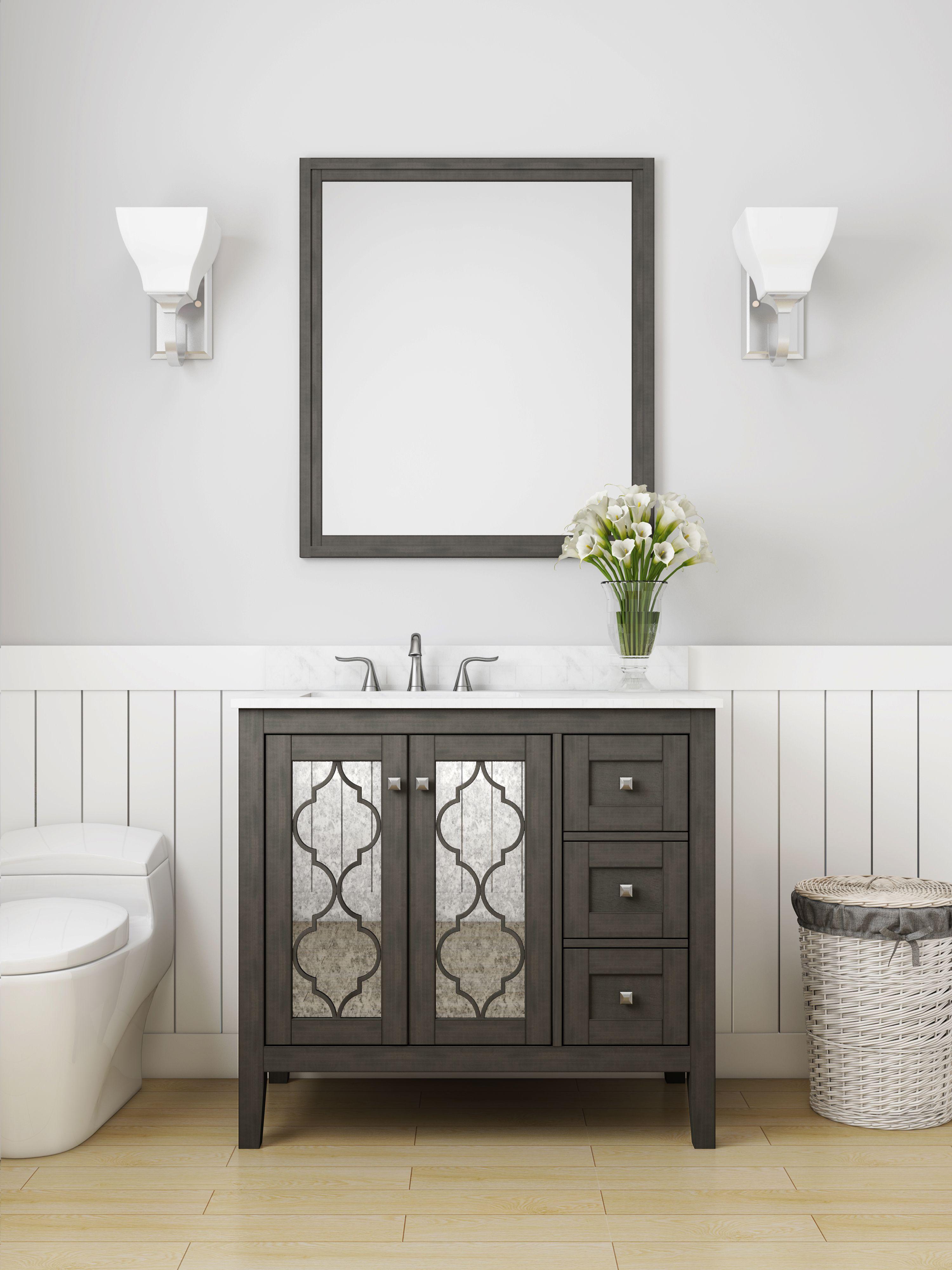 Allen + roth Everdene 36-in Grey Single Sink Bathroom Vanity