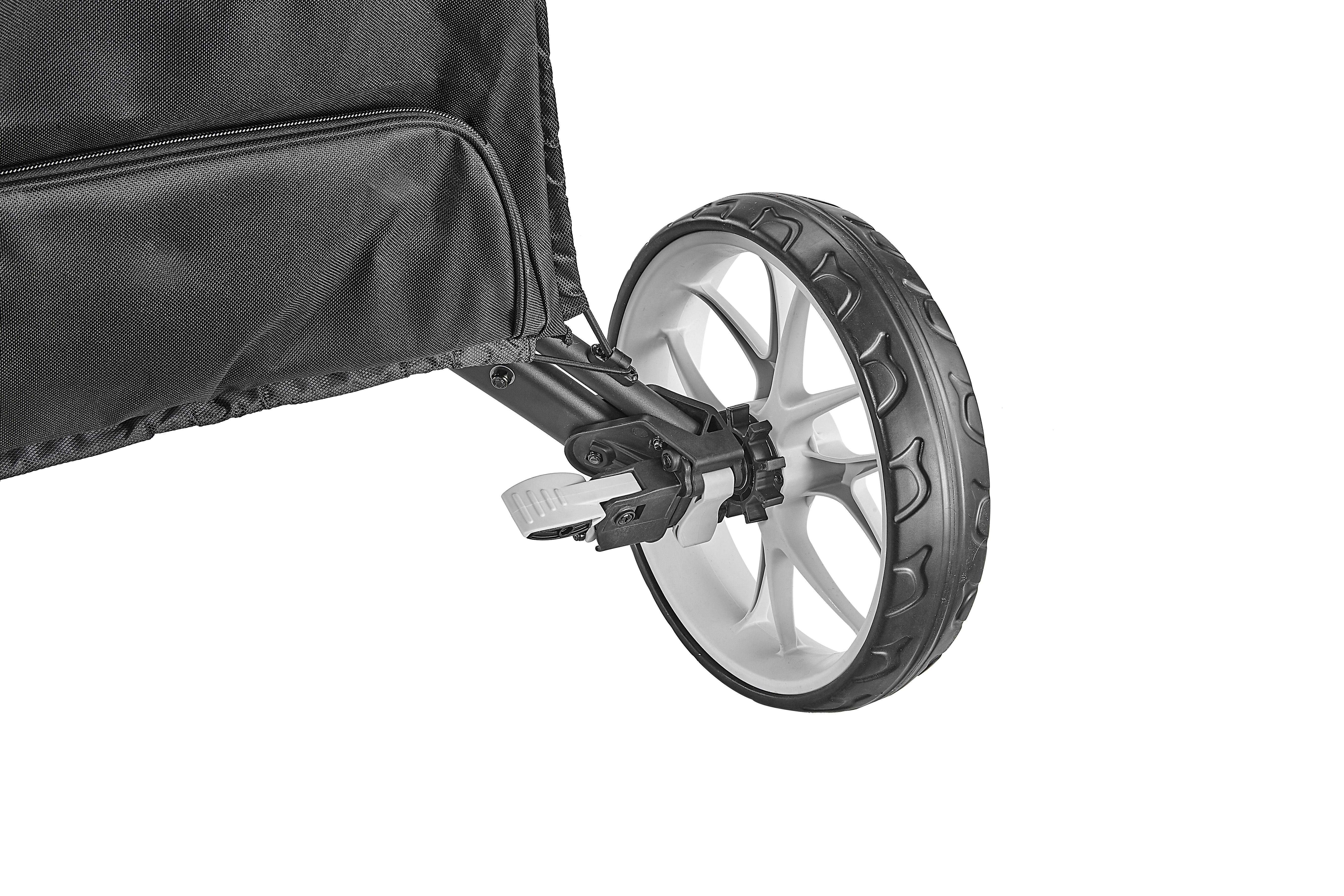 Easy to use foot brake system is included
