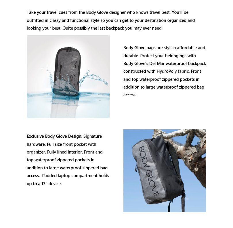 Body Glove Del Mar Waterproof AquaTek Backpack f0ea2e55a1759
