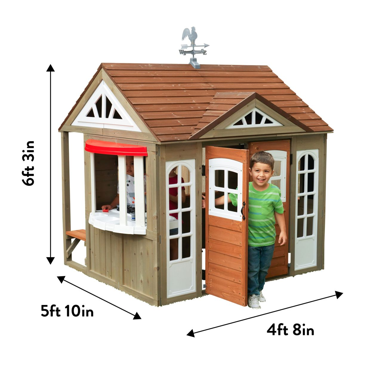 6ft. 3in. 5ft. 10in. 4ft. 8in. Country Vista Playhouse with dimensions.