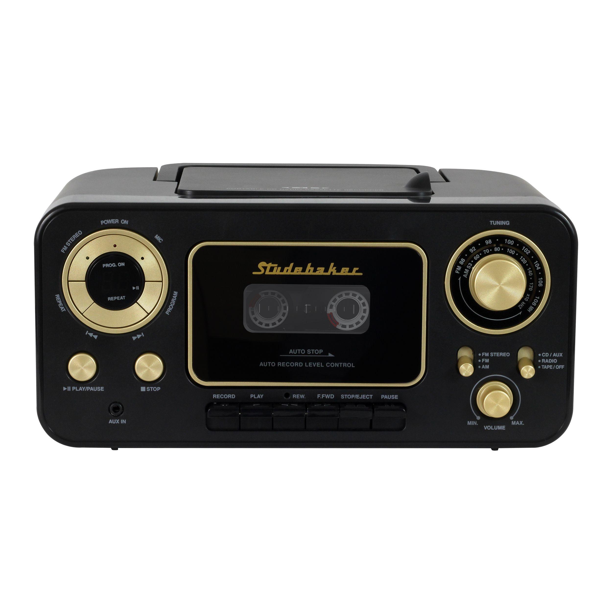 1325324ba2d Studebaker SB2135BG Portable CD Player with AM/FM Radio & Cassette  Player/Recorder (Black & Gold)