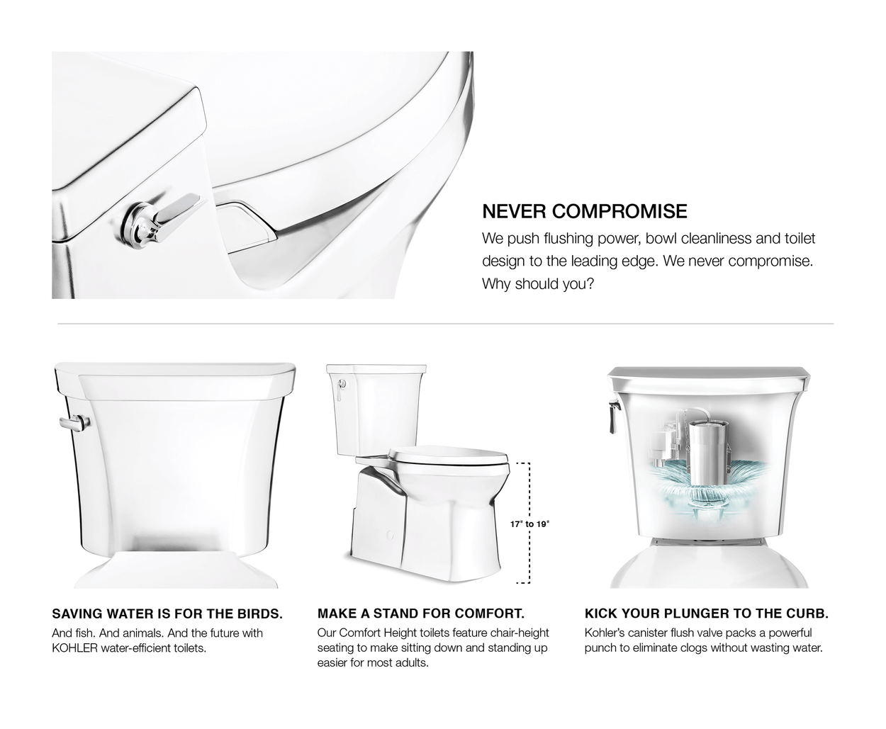 Kohler Santa Rosa White Elongated Chair Height Toilet 12 In Rough In Size Ada Compliant In The Toilets Department At Lowes Com