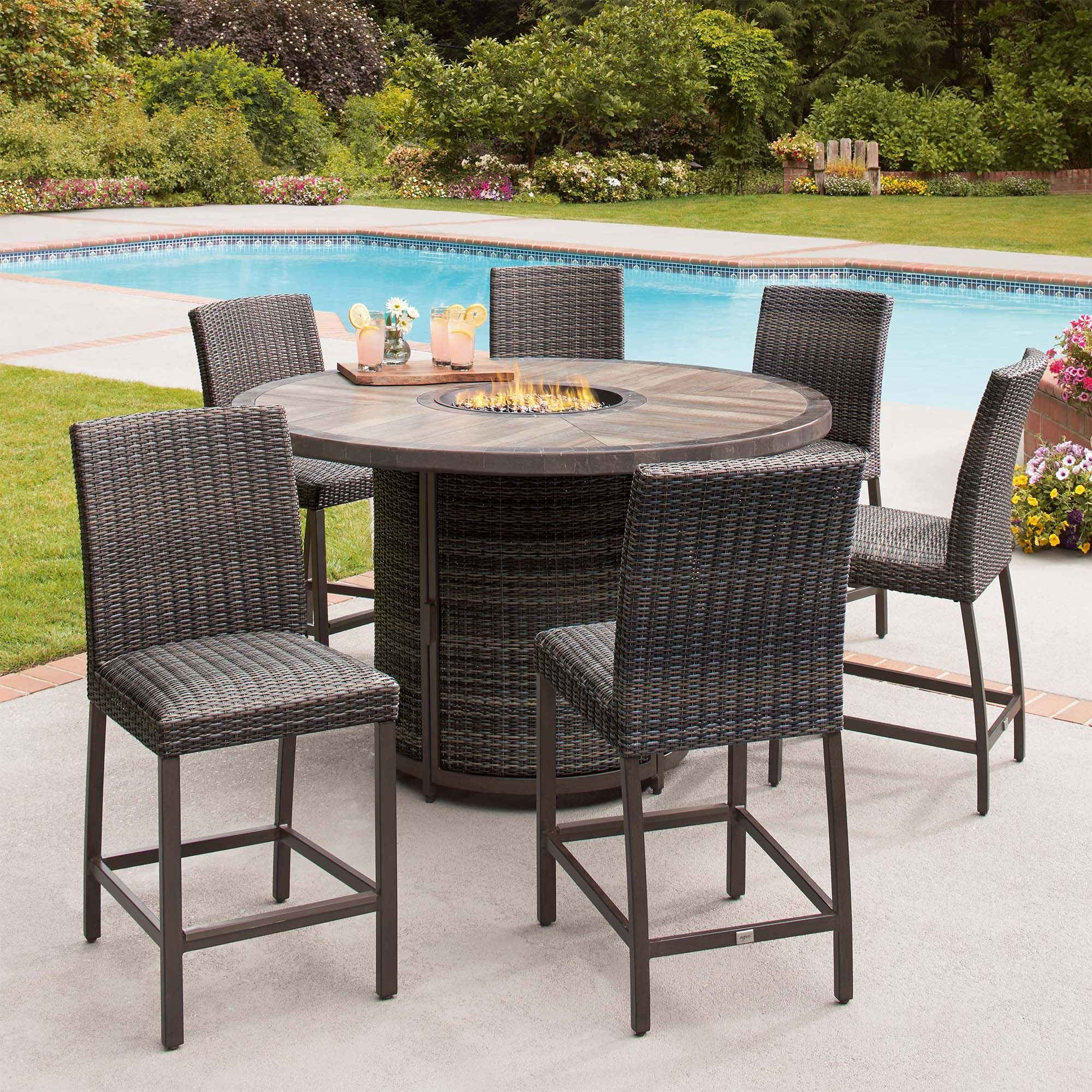 Its time to take your entertaining to new heights with the st louis 7 piece woven high dining fire set take the party well into the night with the