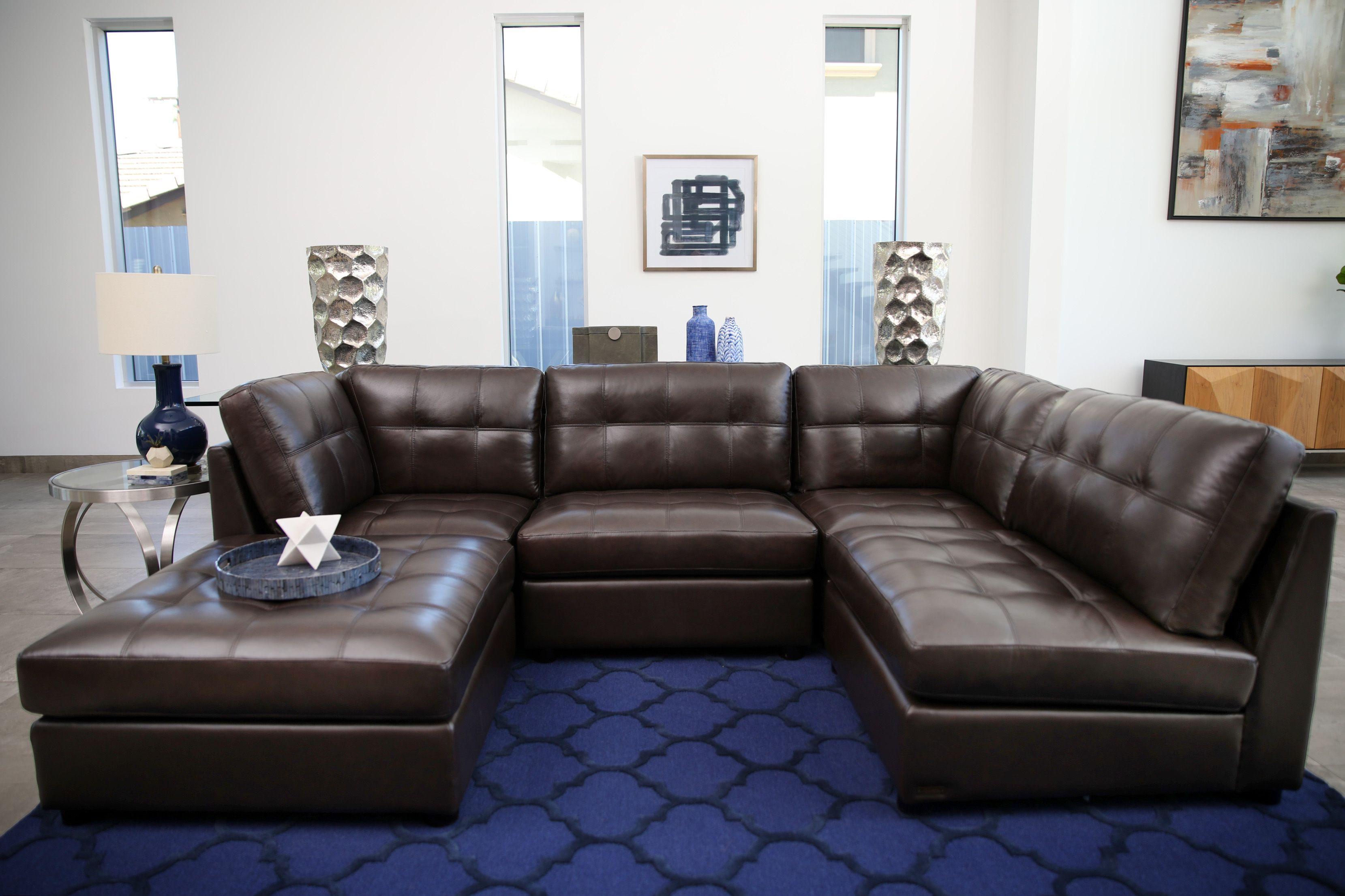 Calvin 5 Piece Top Grain Leather Modular Sectional Living Room Set