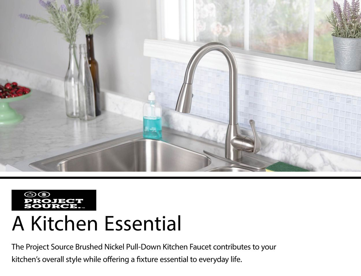 Brushed Nickel 1-handle Deck Mount Pull-down Kitchen Faucet