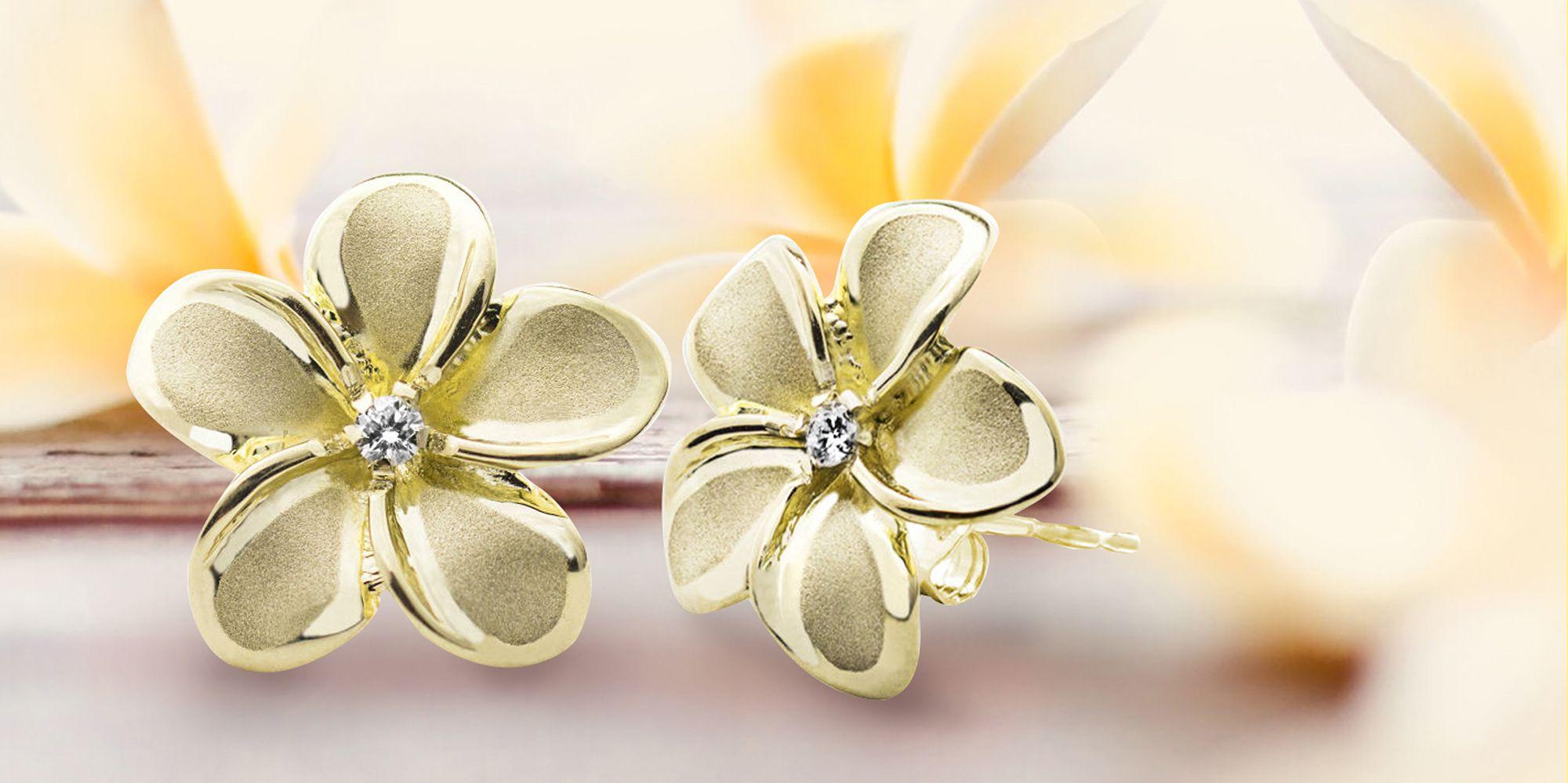 dfd2d004d49d7 Honolulu Jewelry Plumeria Flower Earrings with Diamonds
