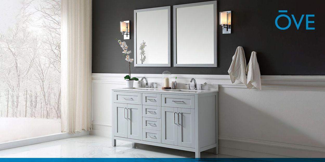 Dove Gray Double Sink Bathroom Vanity