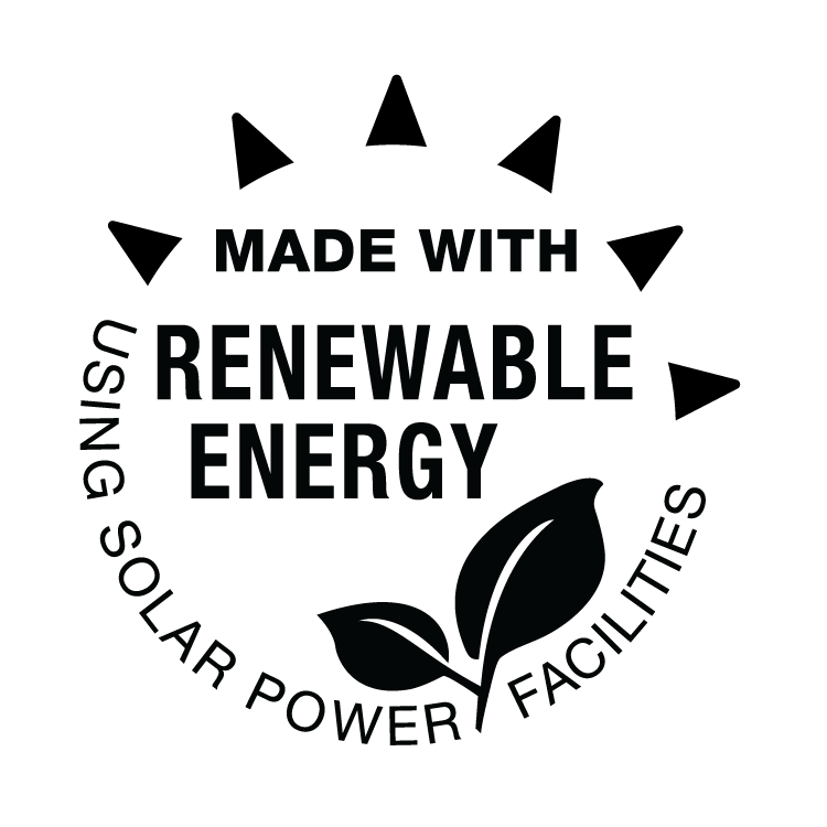 made with renewable energy. using solar power facilities