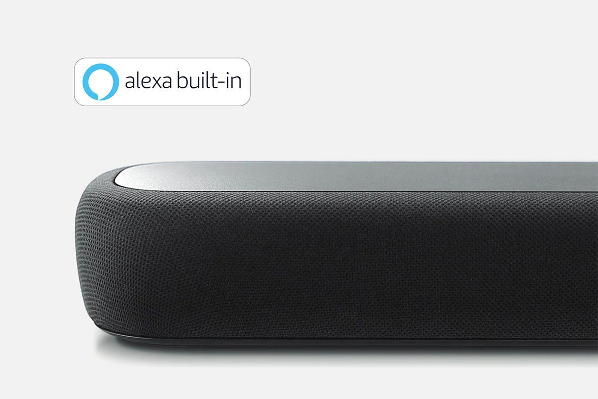 Close-up of sound bar with Alexa Built-in logo