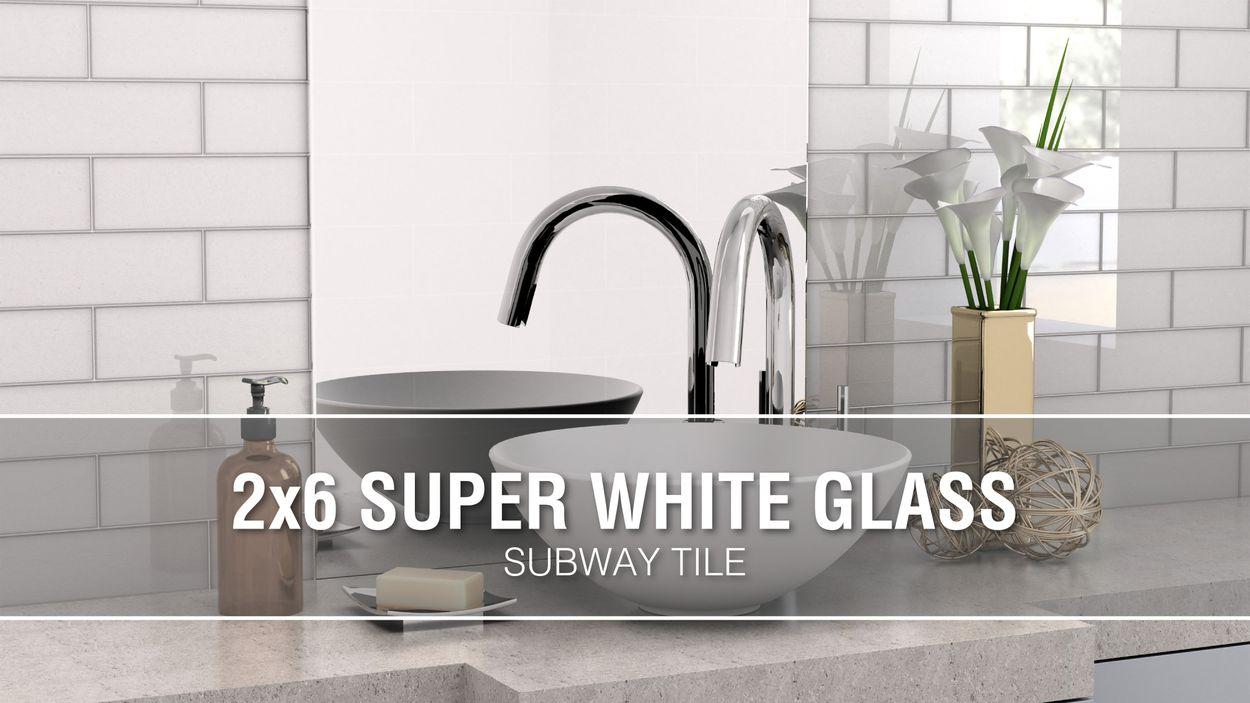 - Elida Ceramica 2x6 Super White Mos Glass 12-in X 12-in Glossy